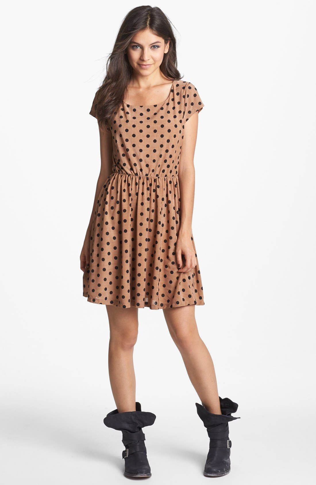 Main Image - Minty Dot Print Elastic Waist Dress (Juniors) (Online Only)
