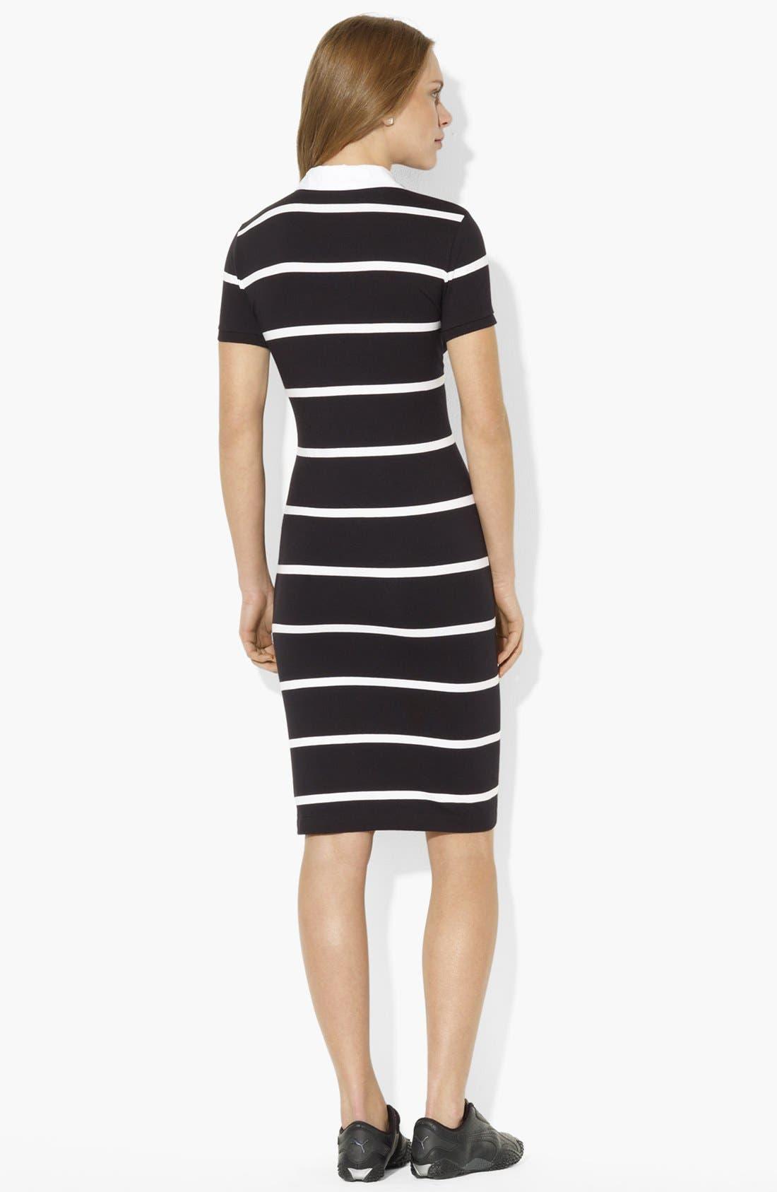 Alternate Image 2  - Lauren Ralph Lauren Split Neck Stripe Polo Dress