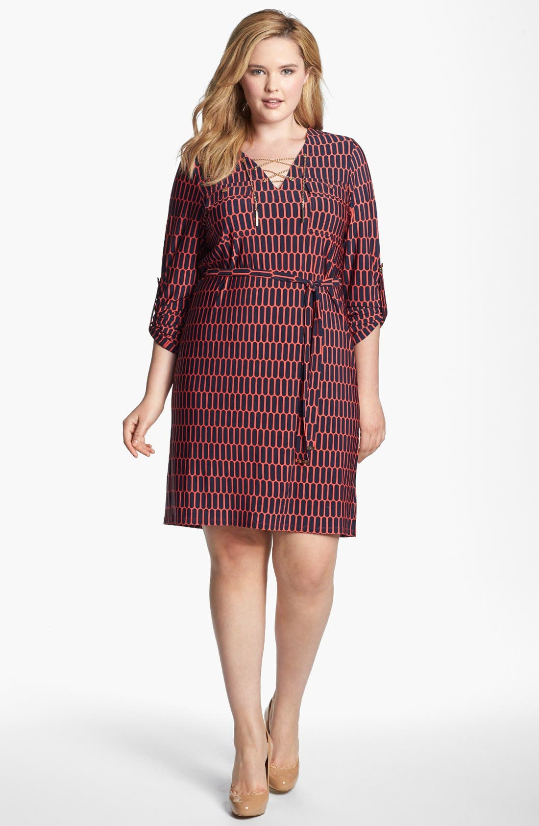 Alternate Image 1 Selected - MICHAEL Michael Kors Print Chain Lace-Up Shirtdress (Plus Size)
