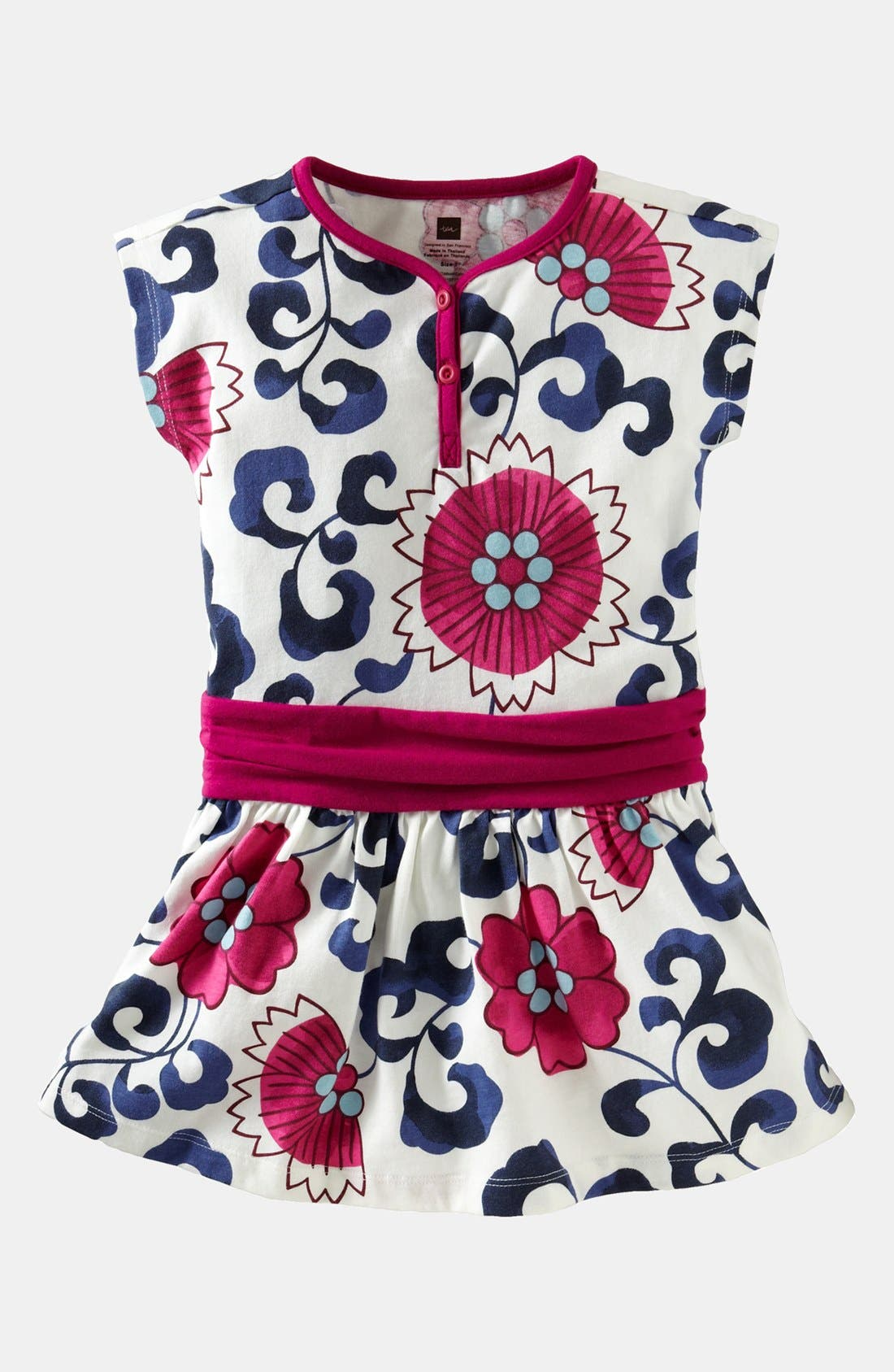 Main Image - Tea Collection 'Porcelain Floral' Henley Dress (Toddler Girls)