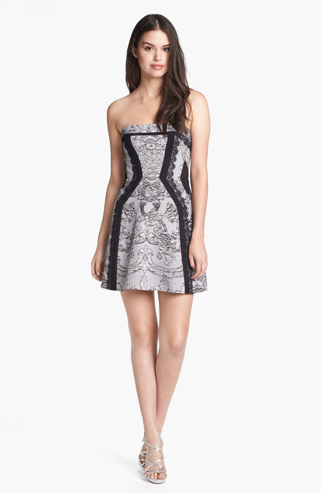 Main Image - BCBGMAXAZRIA Lace Print Fit & Flare Dress
