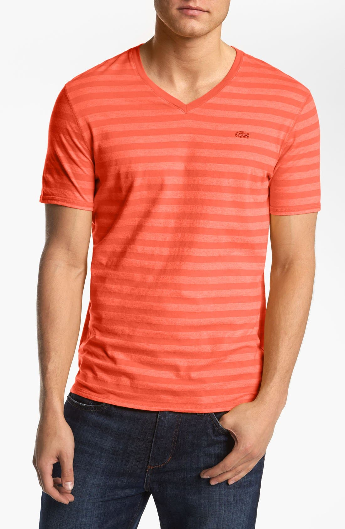 Alternate Image 1 Selected - Lacoste Stripe V-Neck T-Shirt