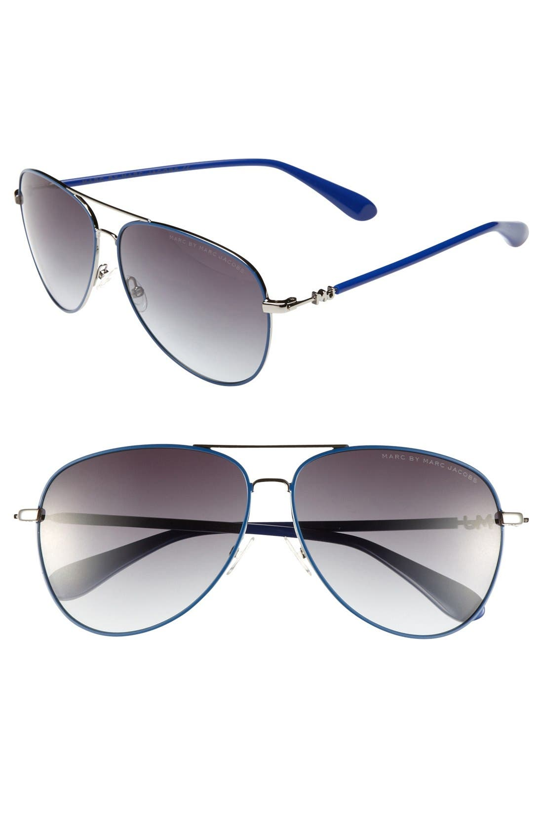 Main Image - MARC BY MARC JACOBS 59mm Metal Aviator Sunglasses