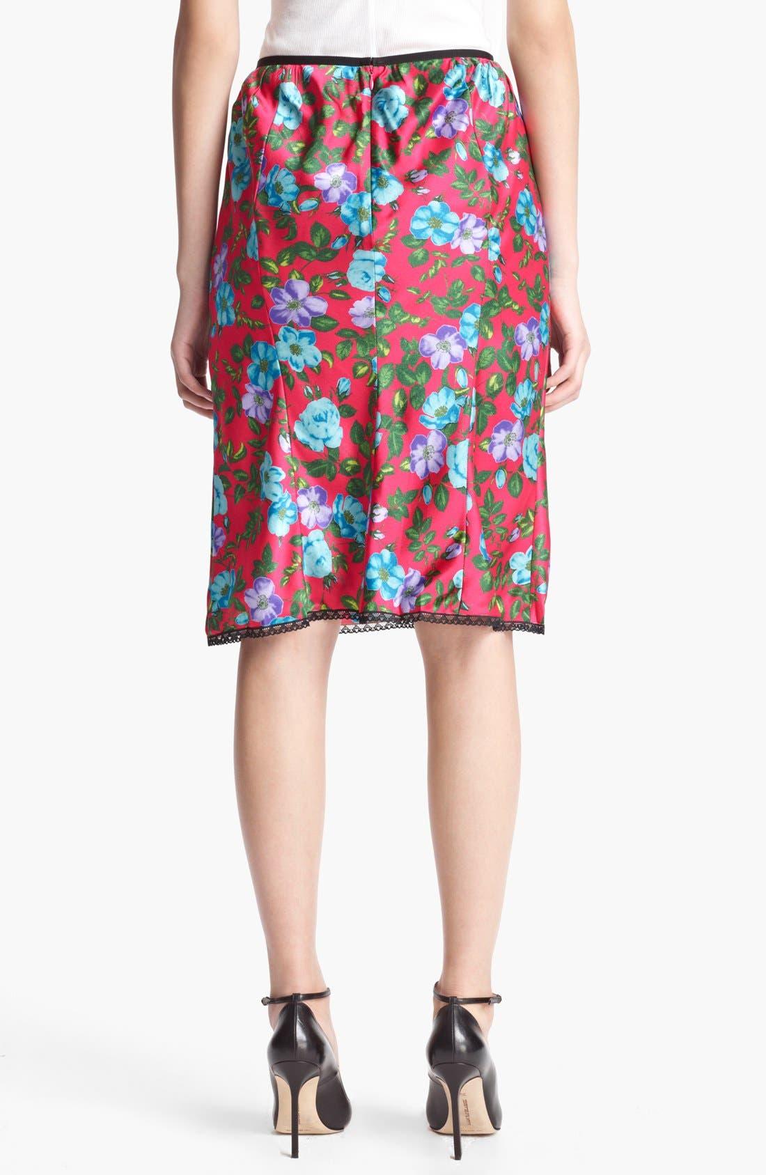 Alternate Image 2  - Nina Ricci Lace Detail Print Silk Skirt