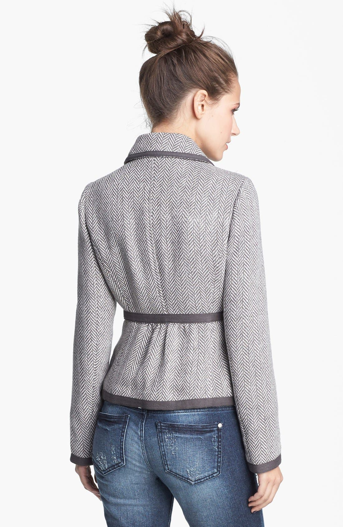 Alternate Image 2  - Tulle Herringbone Contrast Trim Jacket (Juniors) (Online Only)