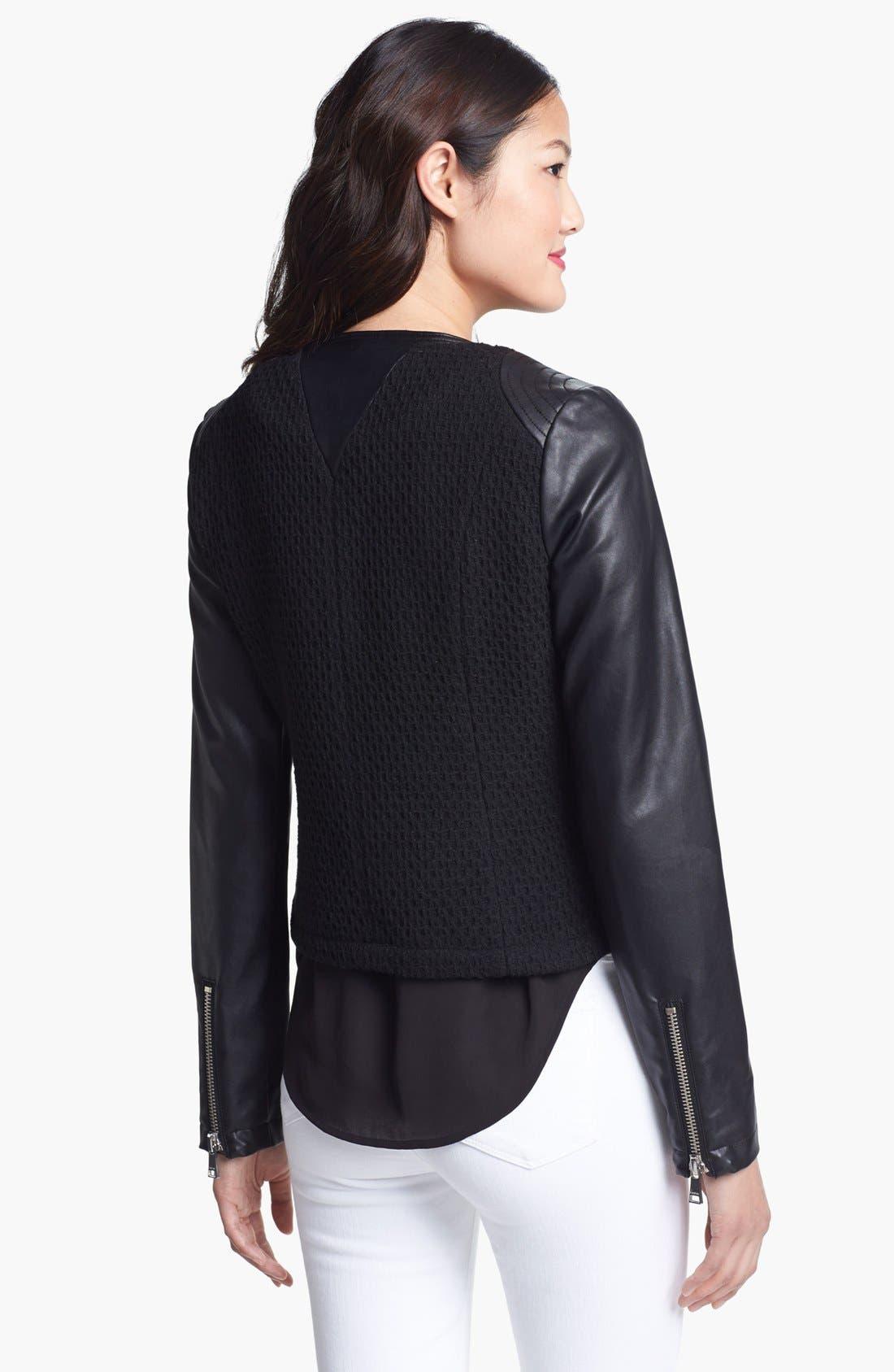 Alternate Image 2  - bebe Collarless Wool Blend & Faux Leather Jacket