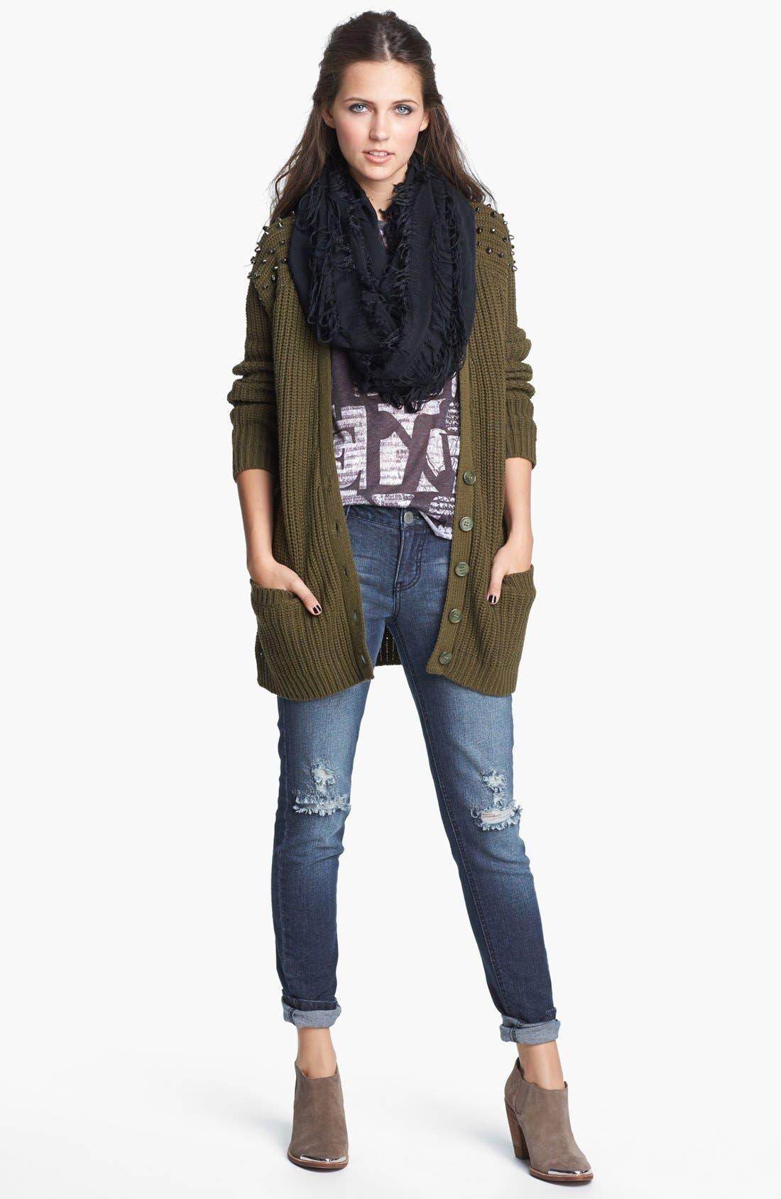 Alternate Image 2  - Fire Destroyed Skinny Jeans (Dark) (Juniors)