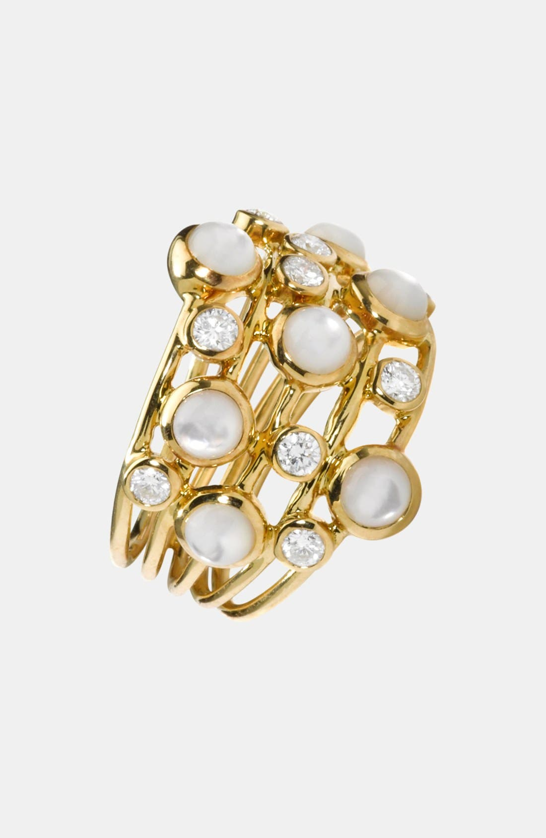 Alternate Image 1 Selected - Ippolita 'Rock Candy - Lollipop' 18k Gold Mother-of-Pearl & Diamond Stack Ring