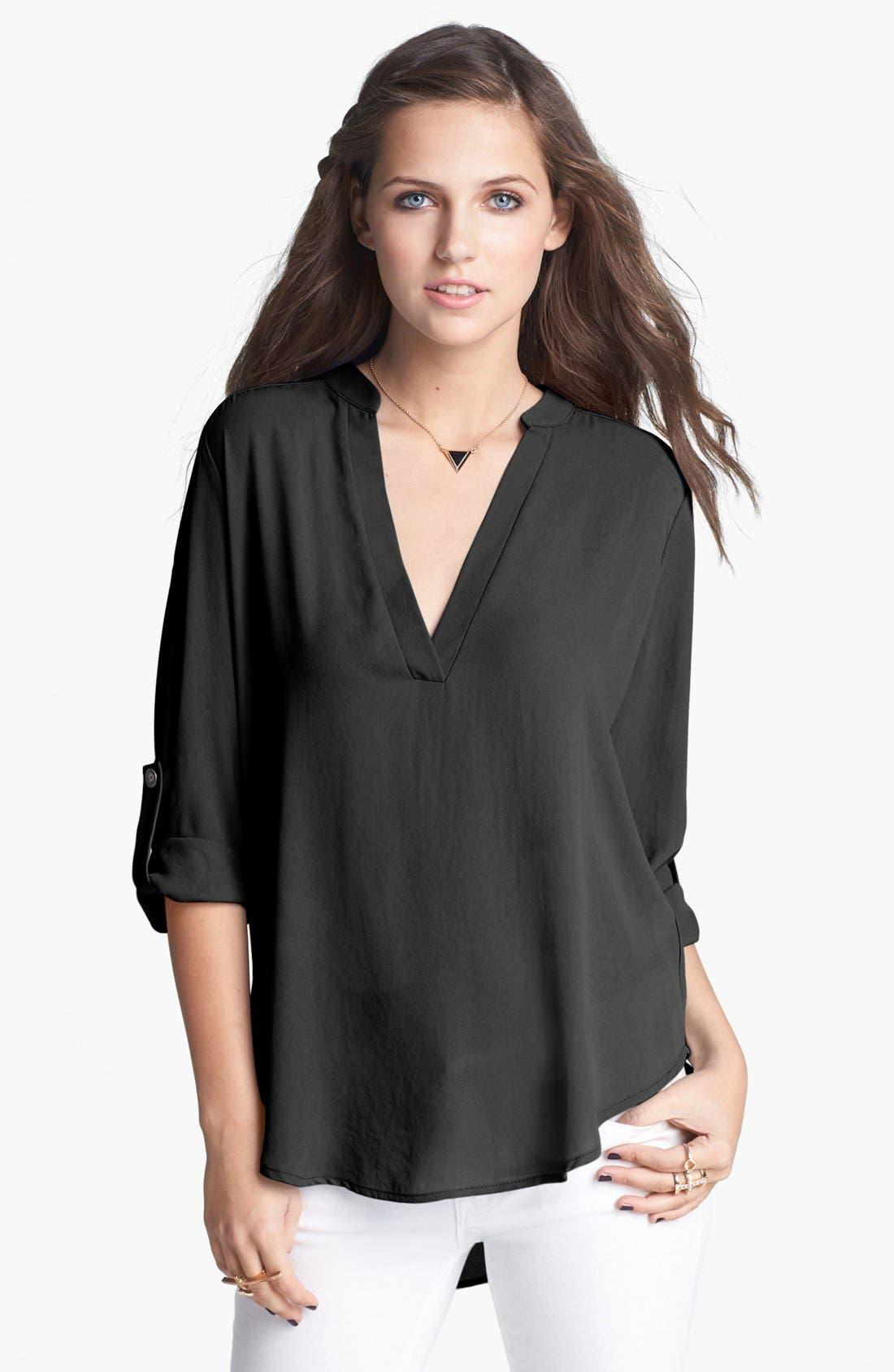 Lush Roll Tab Sleeve Woven Shirt