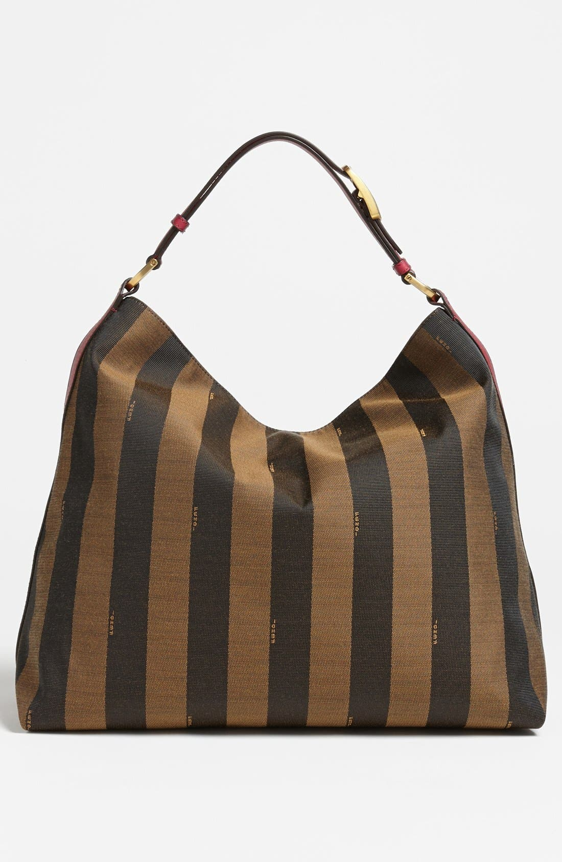 Alternate Image 4  - Fendi 'Large Pequin' Logo Jacquard Hobo