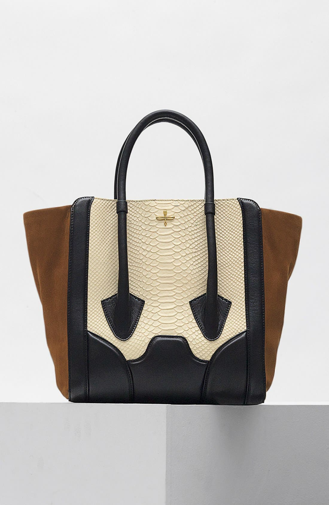 Alternate Image 5  - Pour la Victoire 'Butler - Large' Snake Embossed Leather & Suede Tote