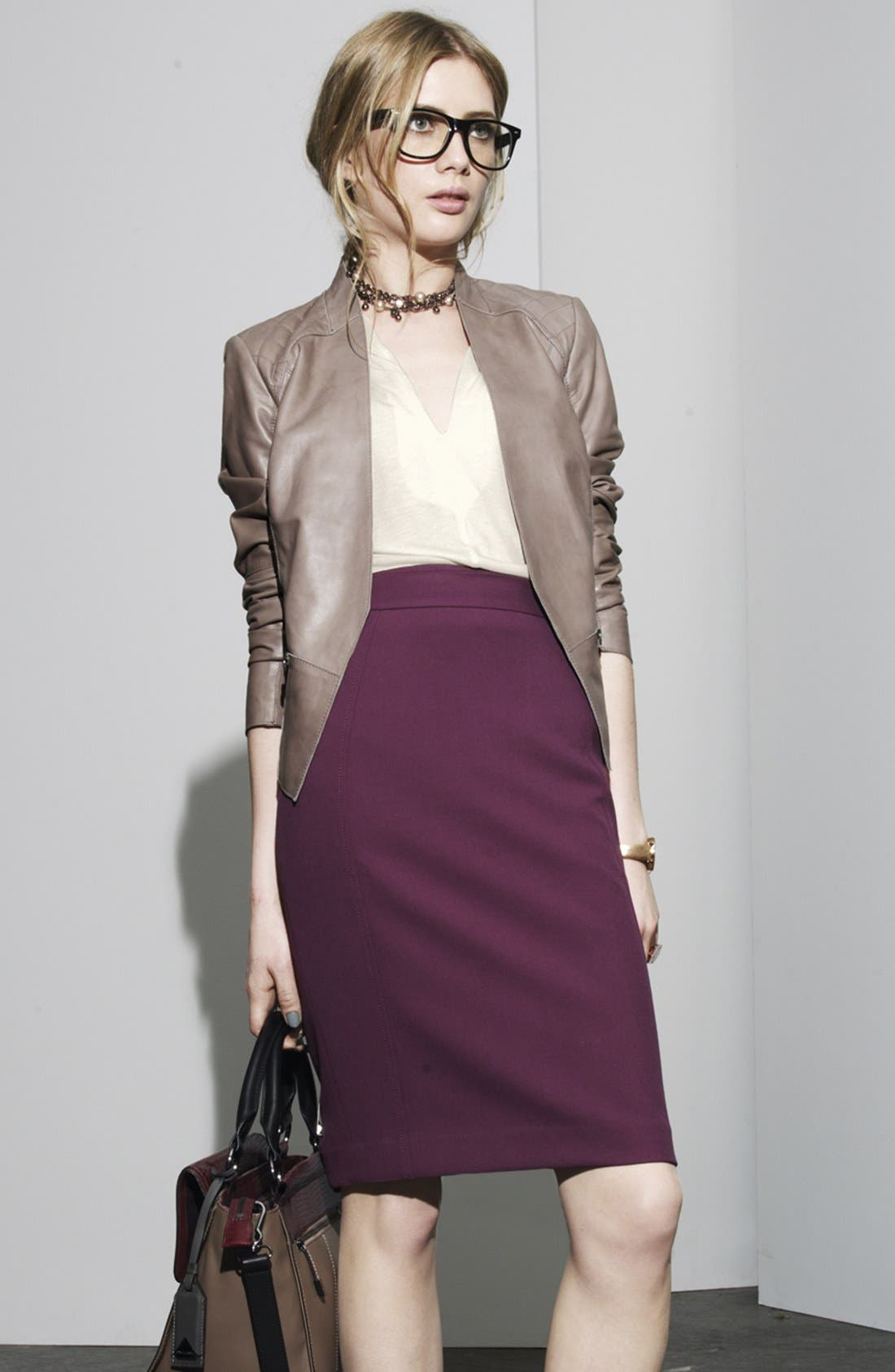 Main Image - Halogen® Leather Jacket, Top & Pencil Skirt