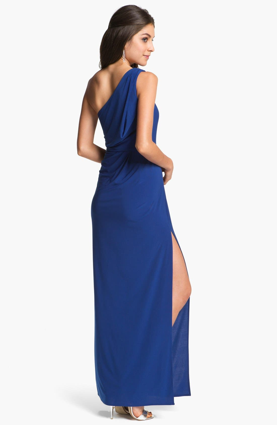 Alternate Image 2  - Hailey by Adrianna Papell One-Shoulder Jersey Gown