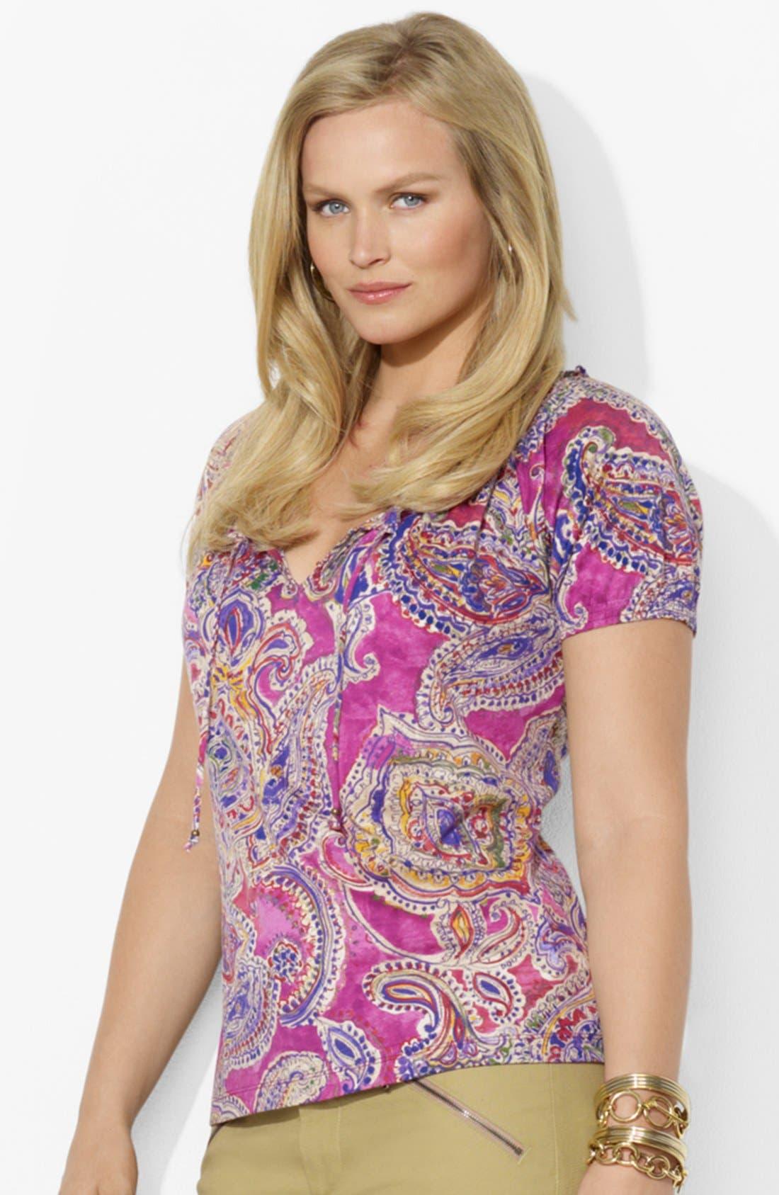 Alternate Image 1 Selected - Lauren Ralph Lauren Paisley Cotton Top (Plus Size)