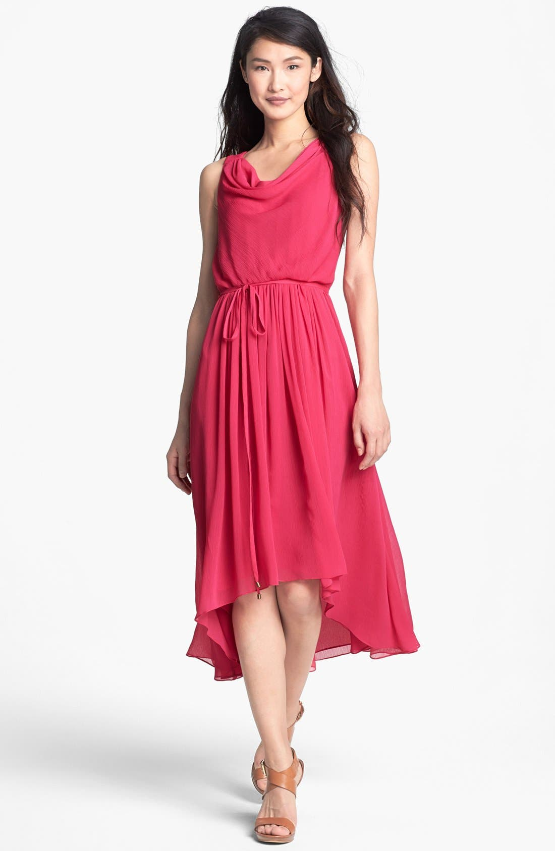 Alternate Image 1 Selected - Adrianna Papell High/Low Crinkled Chiffon Dress