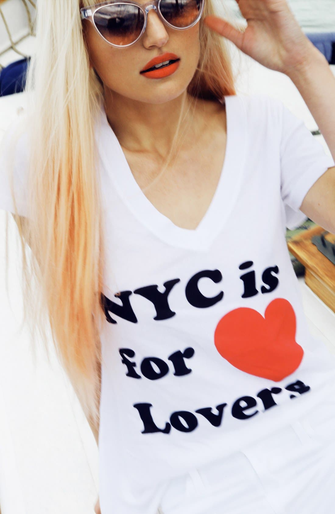 Alternate Image 4  - Wildfox 'NYC 4 Lovers' V-Neck Tee (Nordstrom Exclusive)