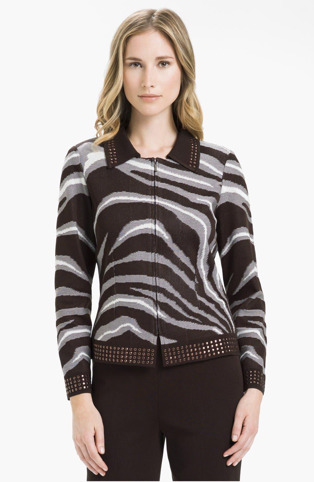 Main Image - Ming Wang Studded Zip Front Knit Jacket