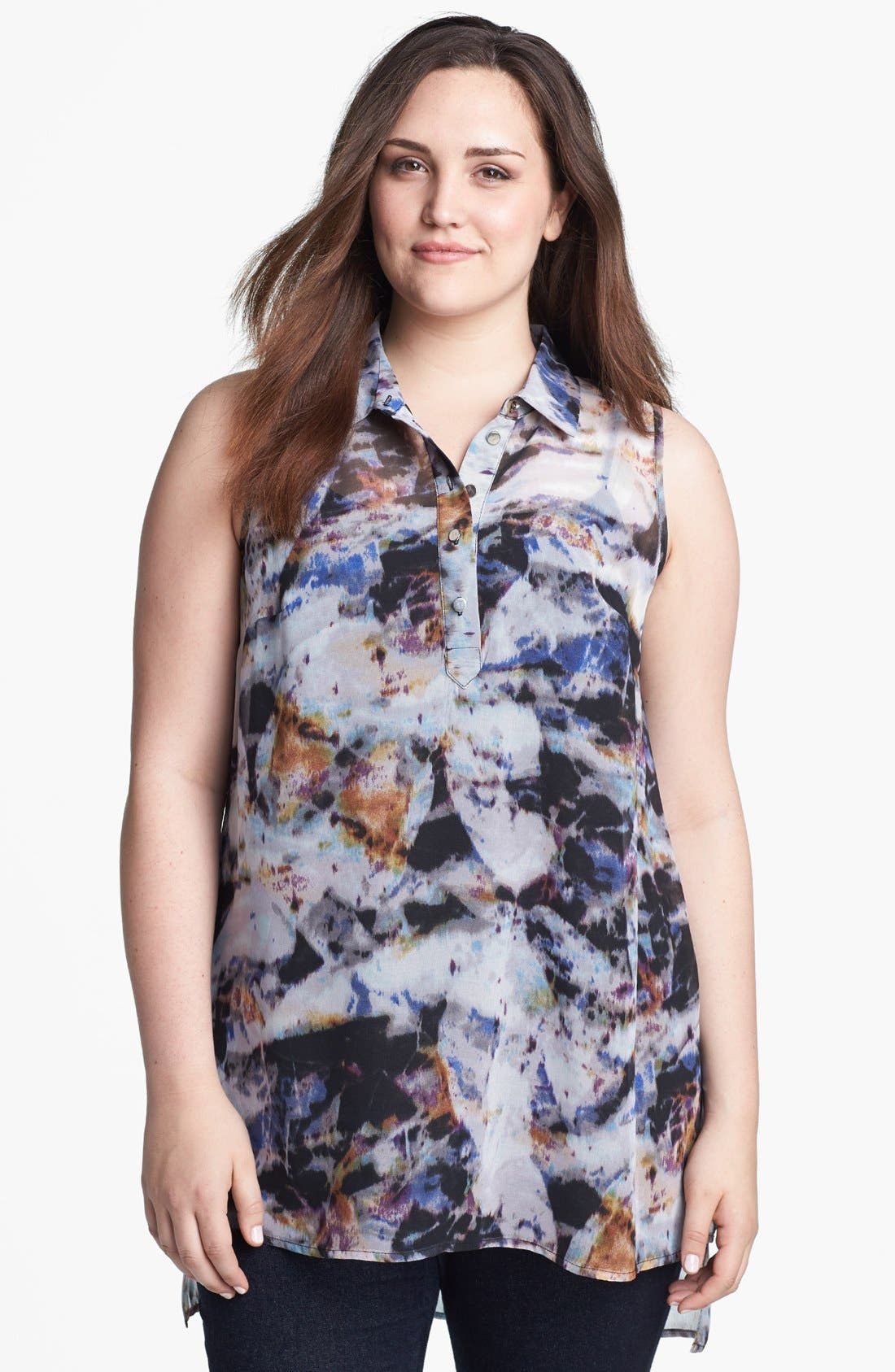 Main Image - Evans Print Sleeveless Top (Plus Size)