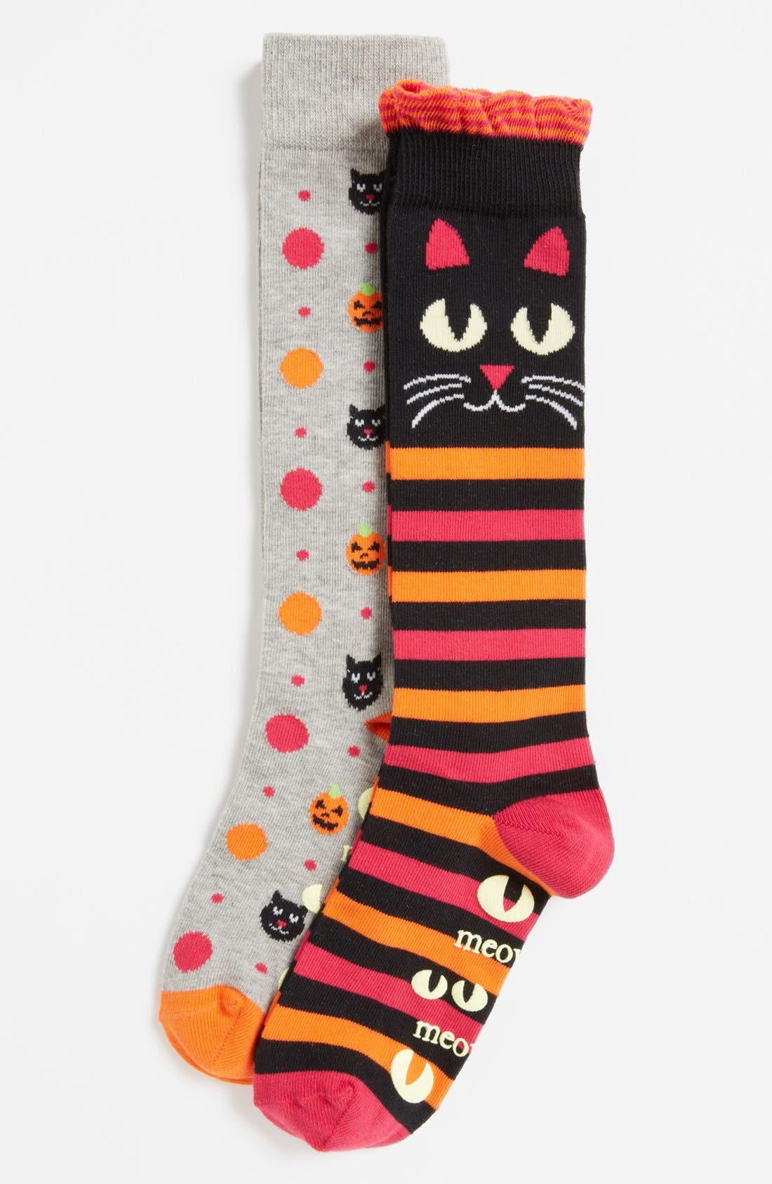 Alternate Image 1 Selected - Nordstrom 'Meowlloween' Socks (2-Pack) (Toddler Girls, Little Girls & Big Girls)