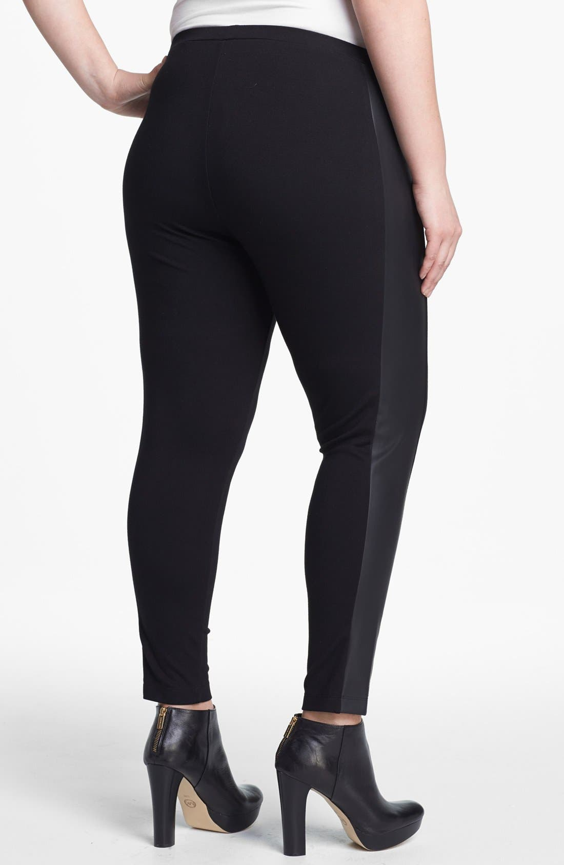 Alternate Image 2  - Vince Camuto Faux Leather Trim Leggings (Plus Size)