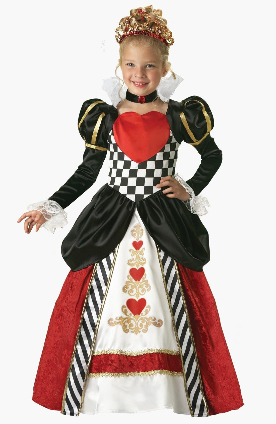 Main Image - InCharacter Costumes 'Queen of Hearts' Gown, Choker & Tiara (Little Girls & Big Girls)
