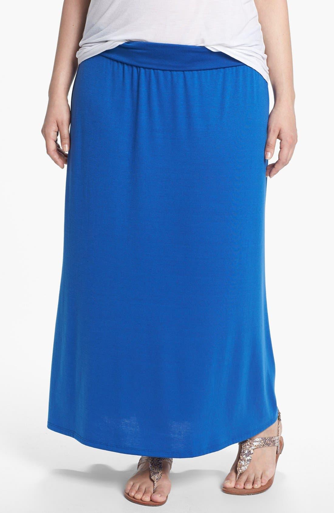 Main Image - Lily White Foldover Maxi Skirt (Juniors Plus)