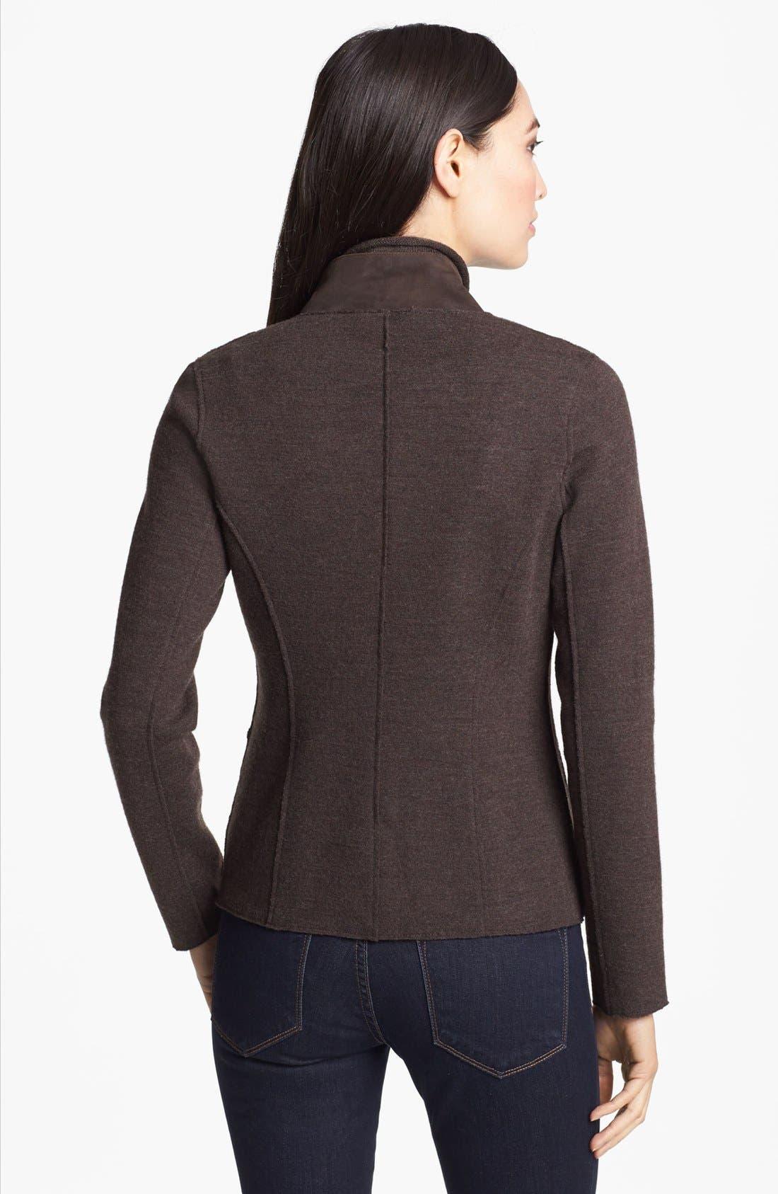 Alternate Image 2  - Eileen Fisher Leather Trim Merino Blend Jacket