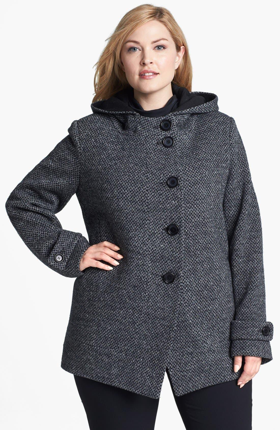 Alternate Image 1  - Kristen Blake Hooded Wool Blend Coat (Plus Size)