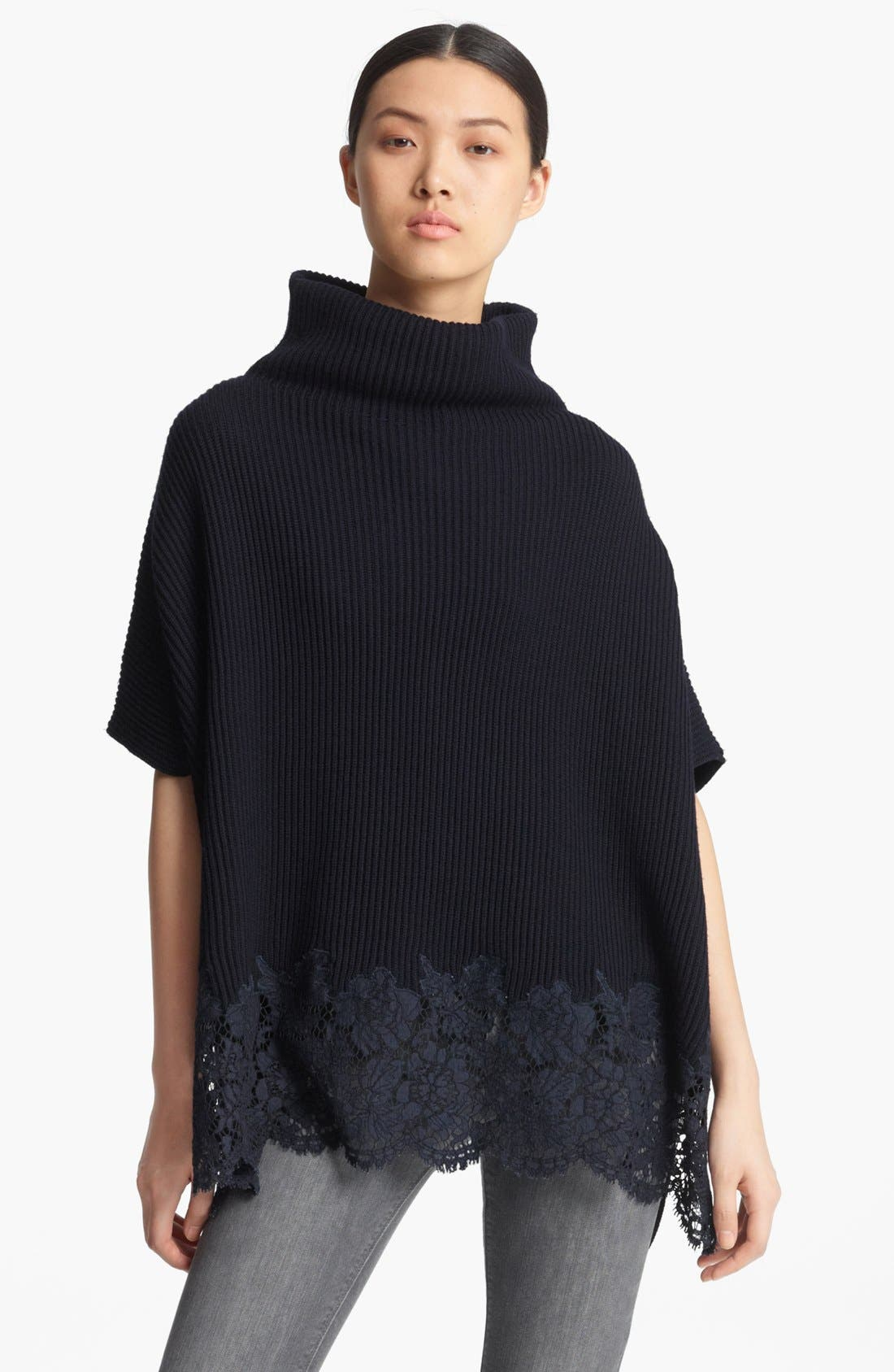 Main Image - Valentino Lace Trim Wool Cape