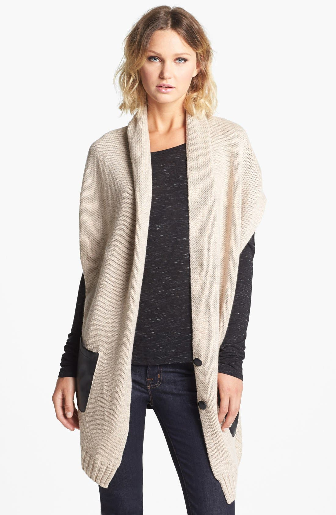 Main Image - Nordstrom Knit Vest With Faux Leather Pockets