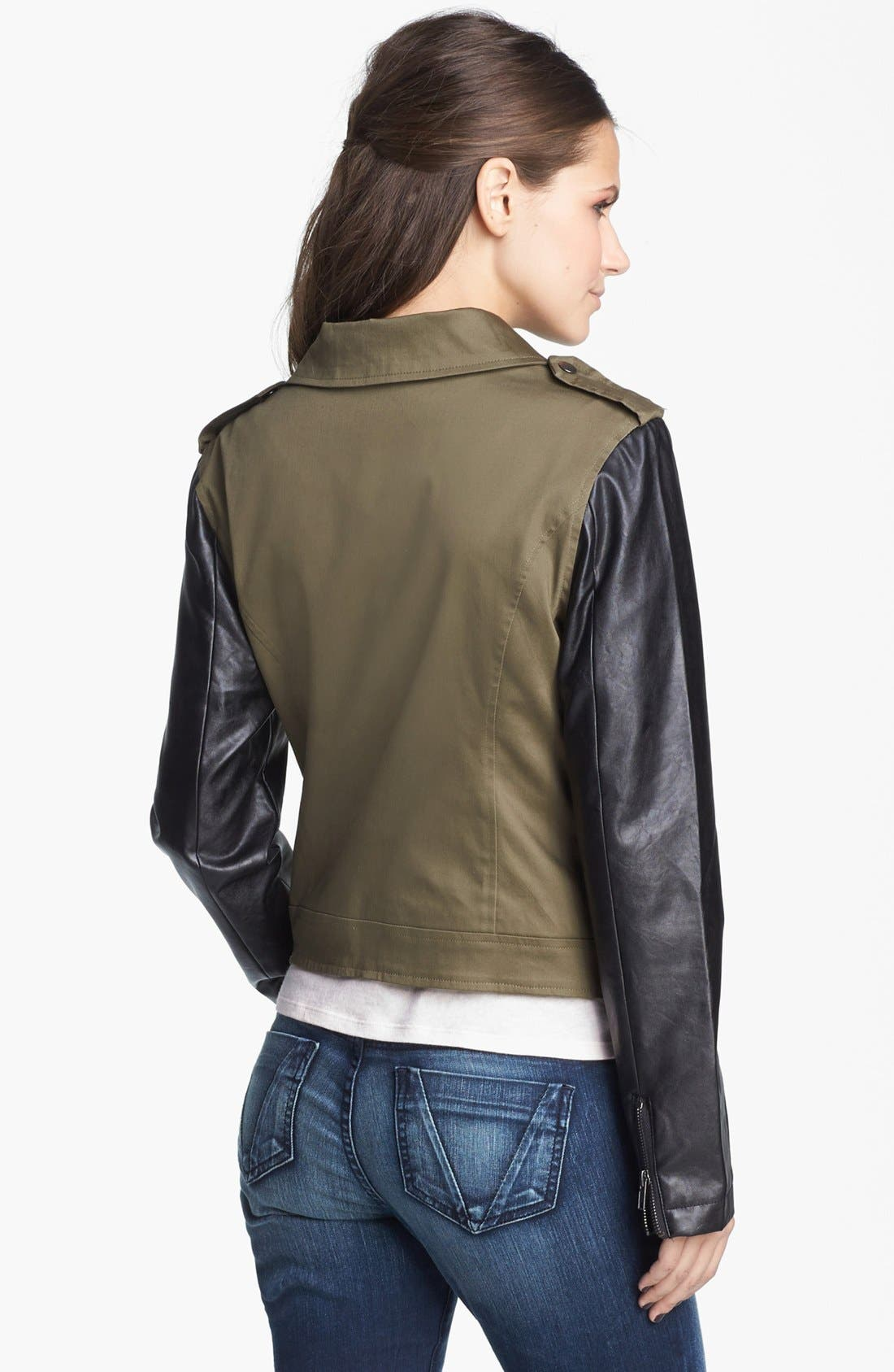 Alternate Image 3  - Coffee Shop Mixed Media Moto Jacket (Juniors) (Online Only)