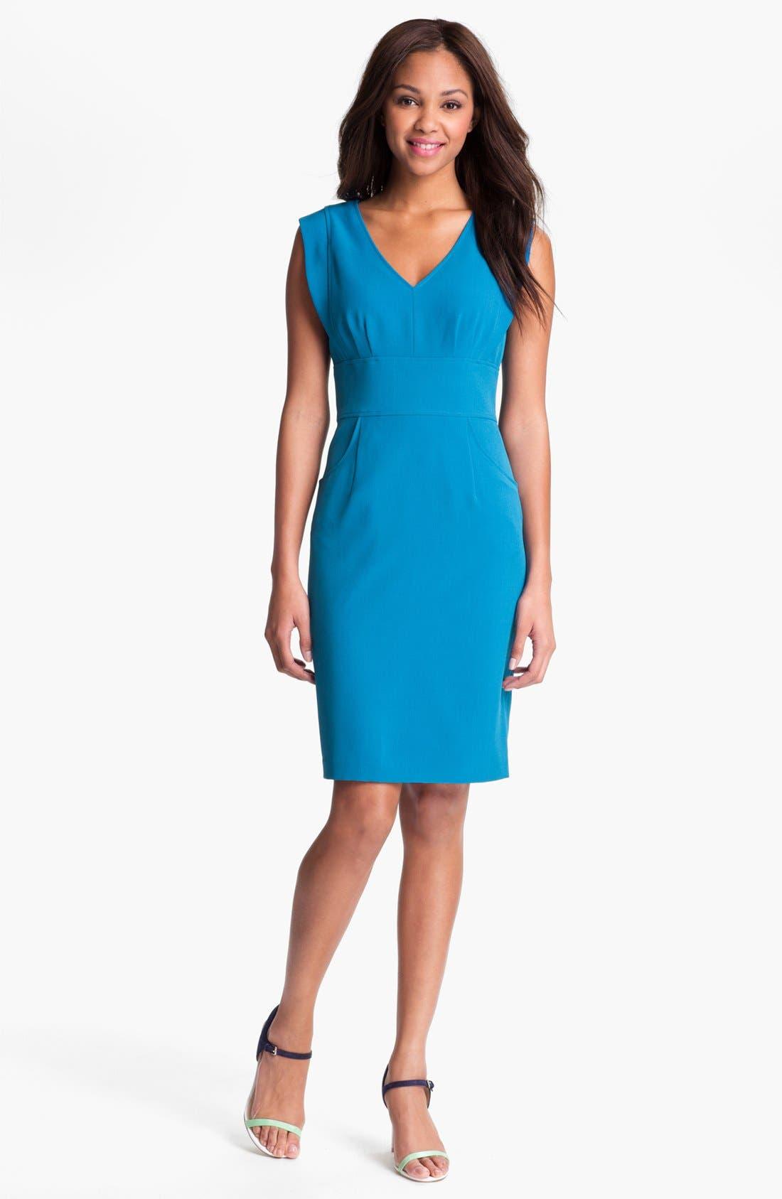 Alternate Image 1 Selected - Adrianna Papell V-Neck Sheath Dress (Petite)