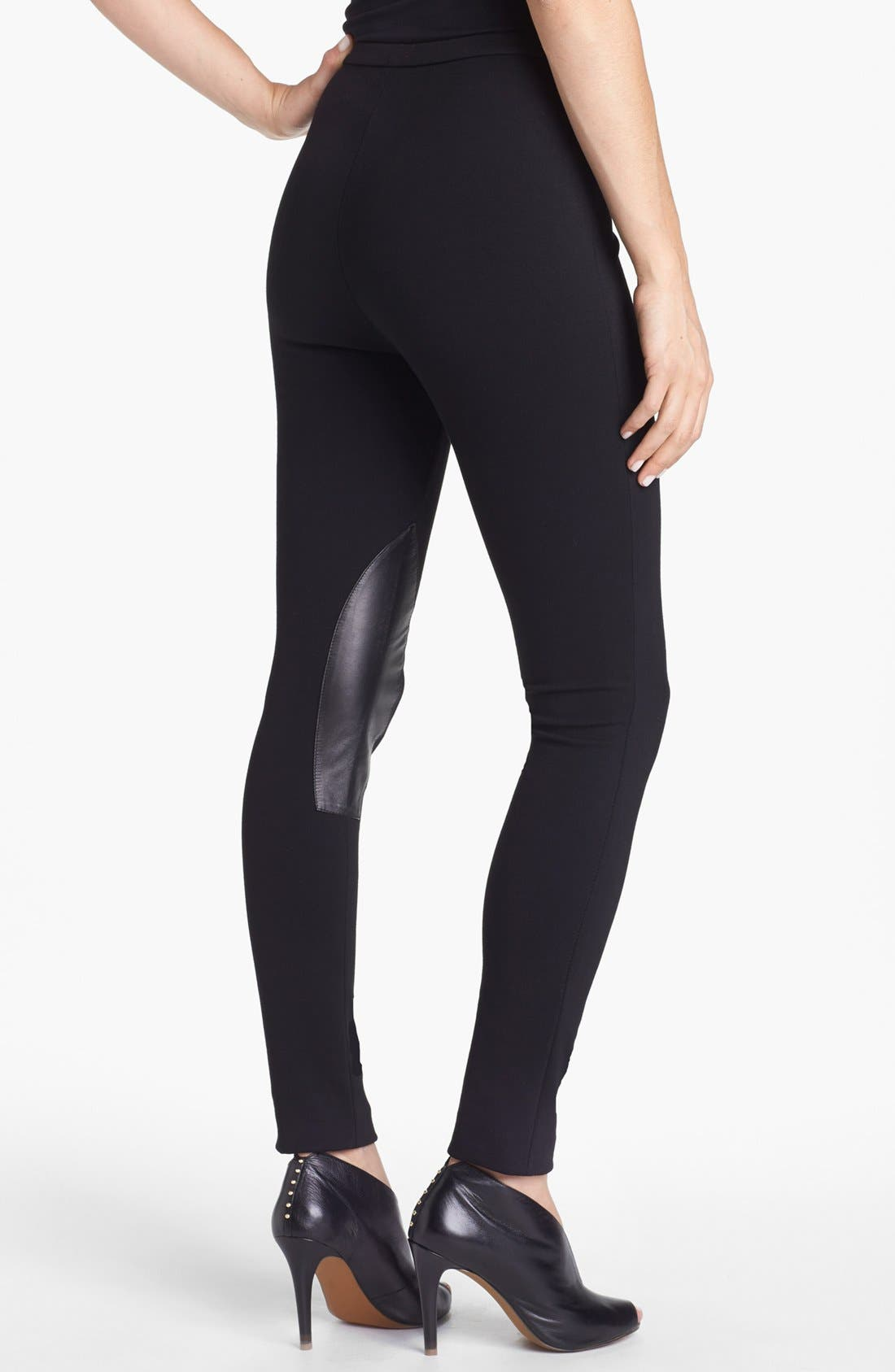 Alternate Image 4  - Lafayette 148 New York Leather Trim Punto Milano Pants