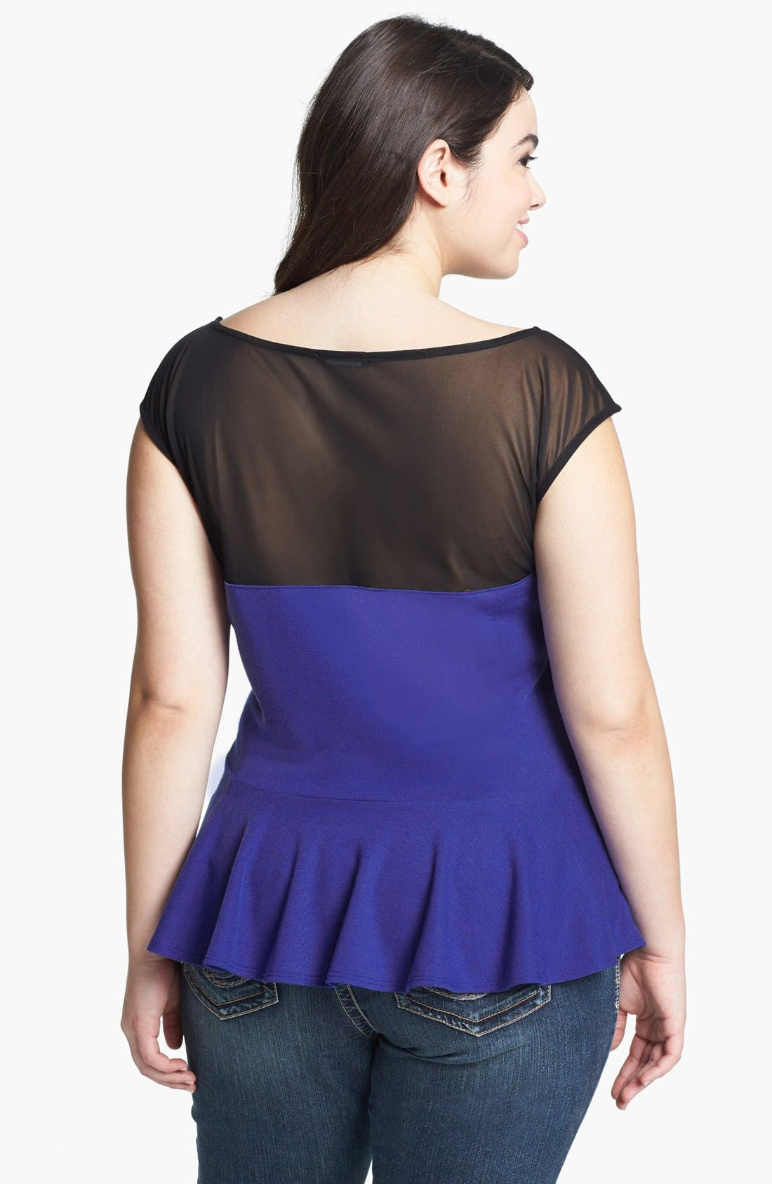 Alternate Image 2  - Soprano Illusion Yoke Peplum Top (Juniors Plus)