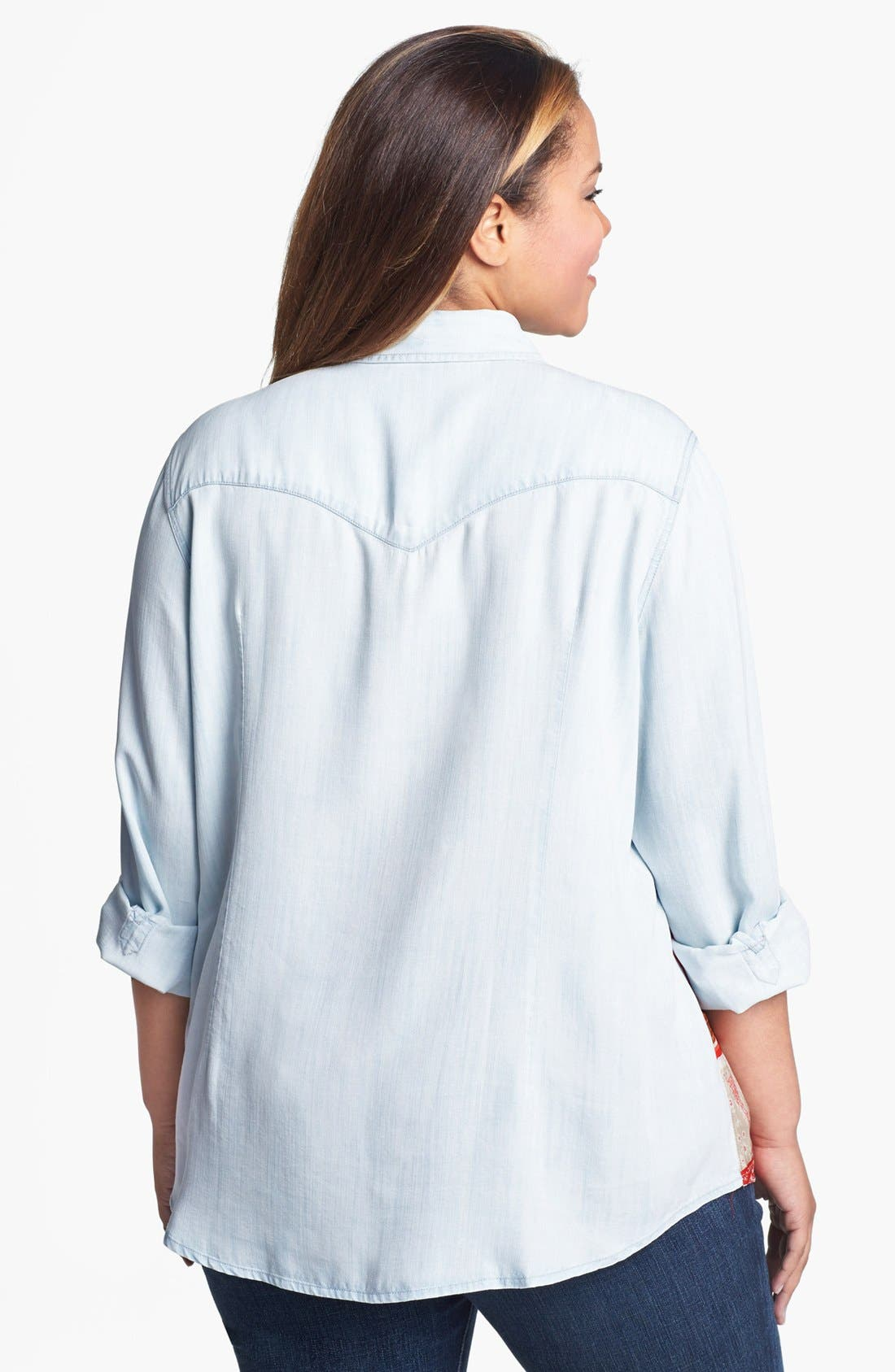 Alternate Image 2  - Lucky Brand 'Dixie' Scarf Print Chambray Shirt (Plus Size)