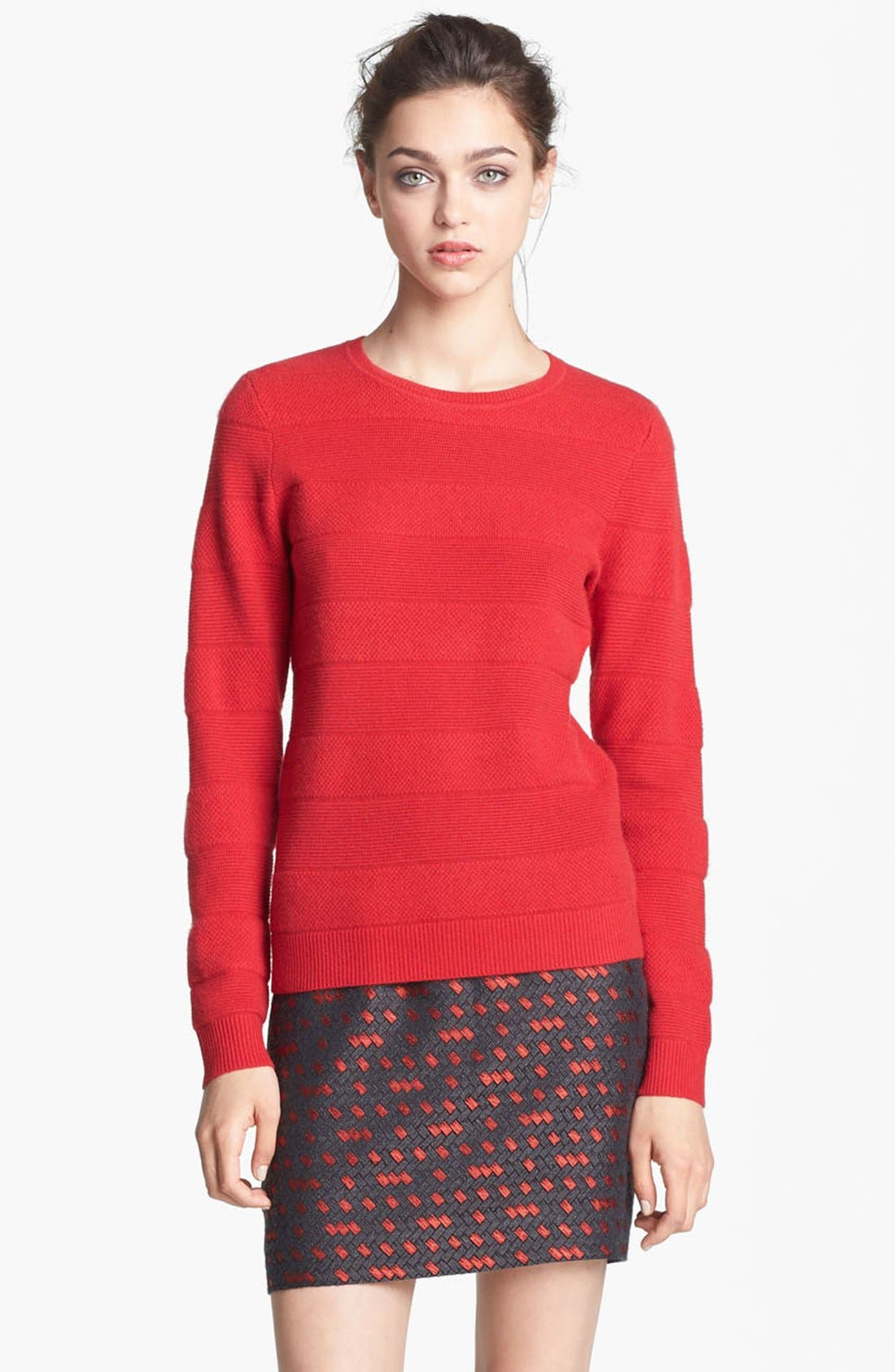 Main Image - Miss Wu 'Polimero' Textured Stripe Cashmere Sweater (Nordstrom Exclusive)
