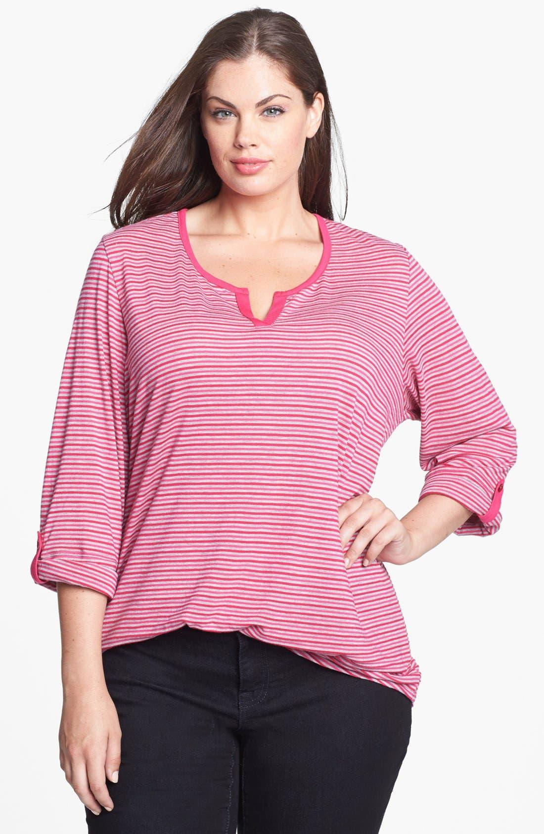 Alternate Image 1 Selected - Sejour Stripe Jersey Top (Plus Size)