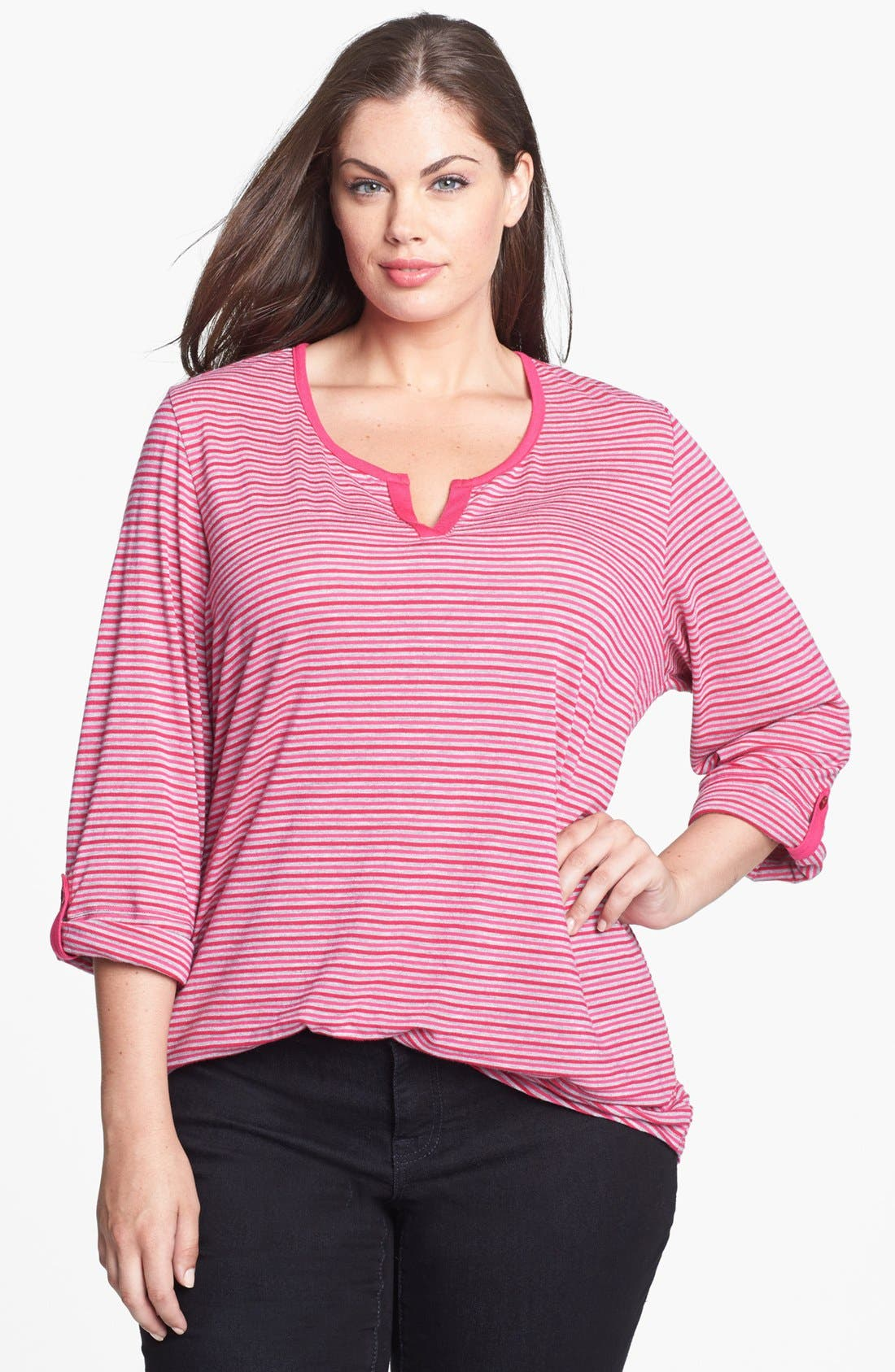 Main Image - Sejour Stripe Jersey Top (Plus Size)