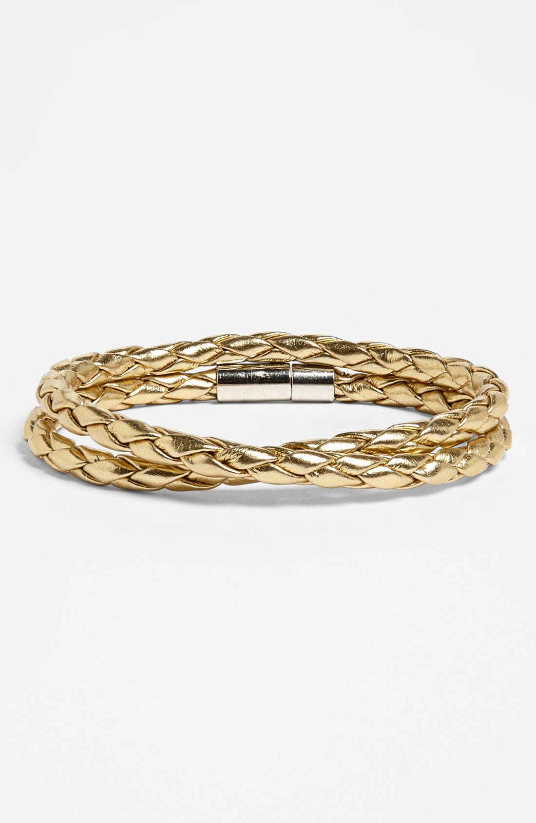 Alternate Image 1 Selected - Carole Faux Leather Braided Wrap Bracelet (Juniors)