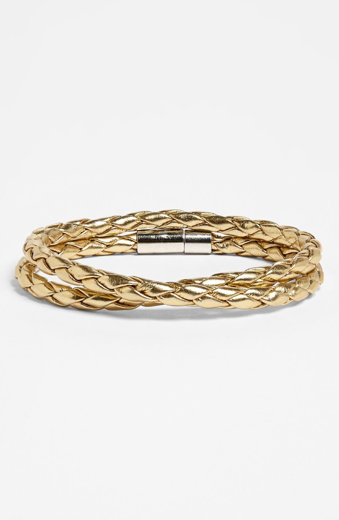 Main Image - Carole Faux Leather Braided Wrap Bracelet (Juniors)