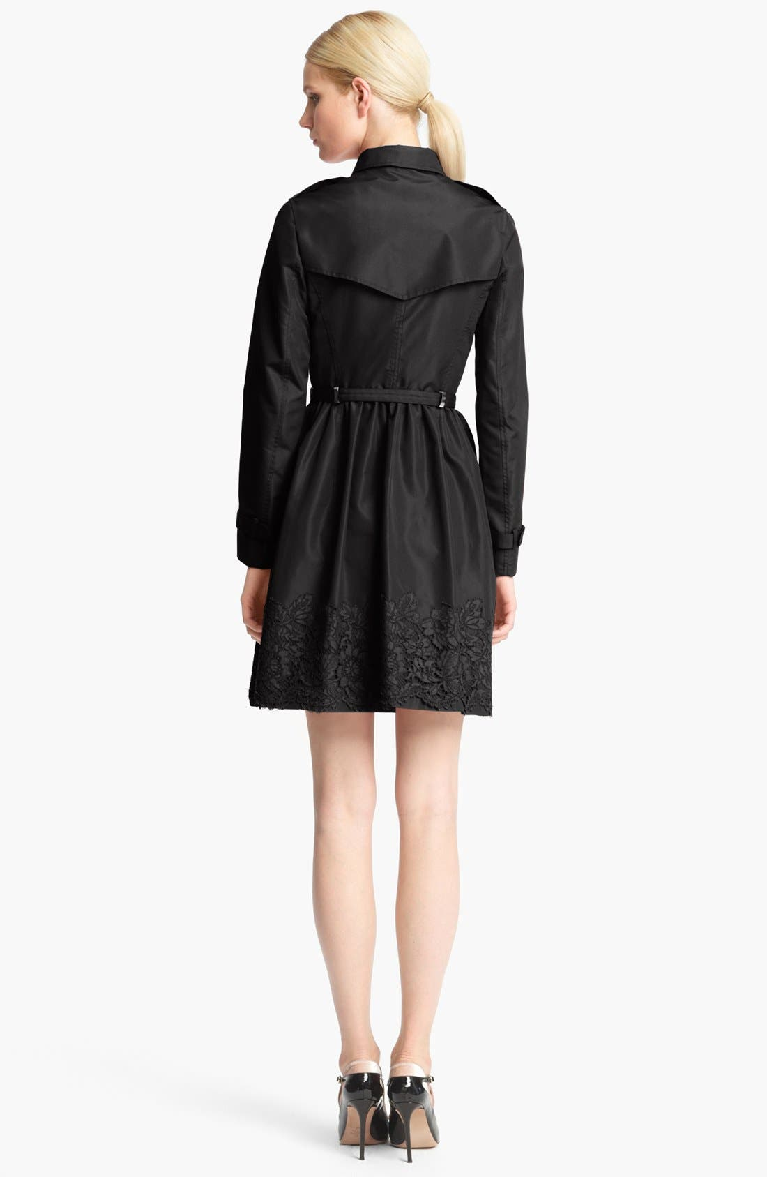 Alternate Image 2  - Valentino Lace Hem Faille Trench Coat