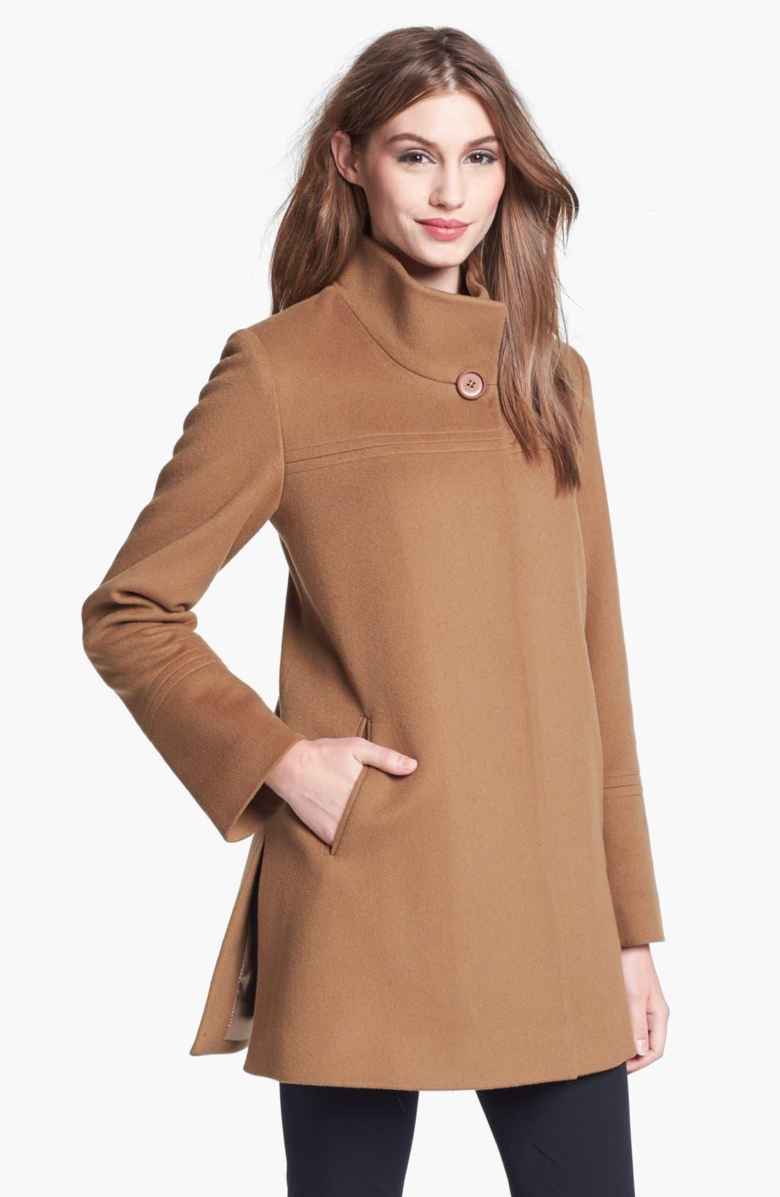 Main Image - Fleurette Stand Collar Wool Coat