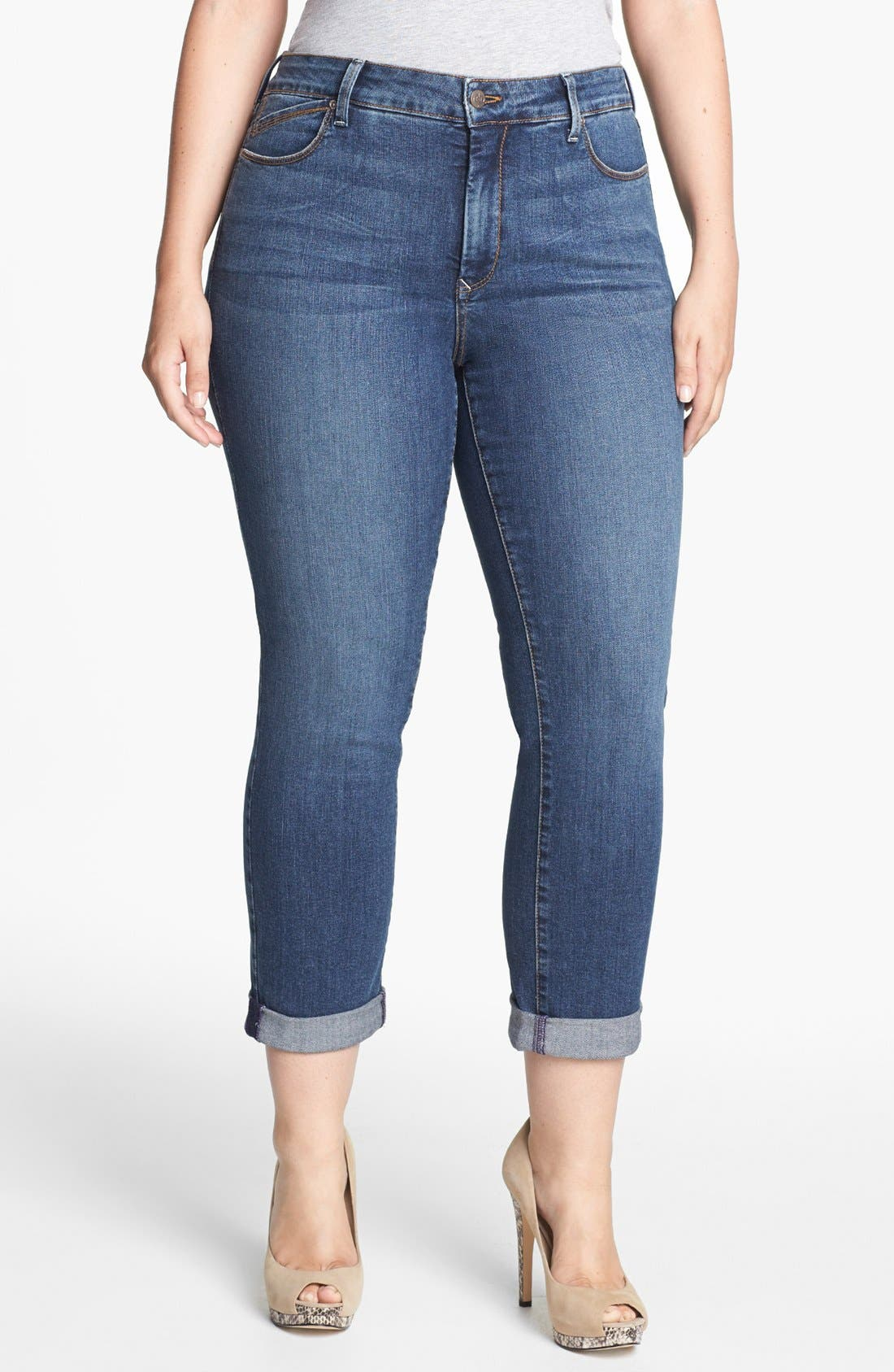 Alternate Image 1 Selected - NYDJ 'Tanya' Stretch Boyfriend Jeans (Lockport) (Plus Size)