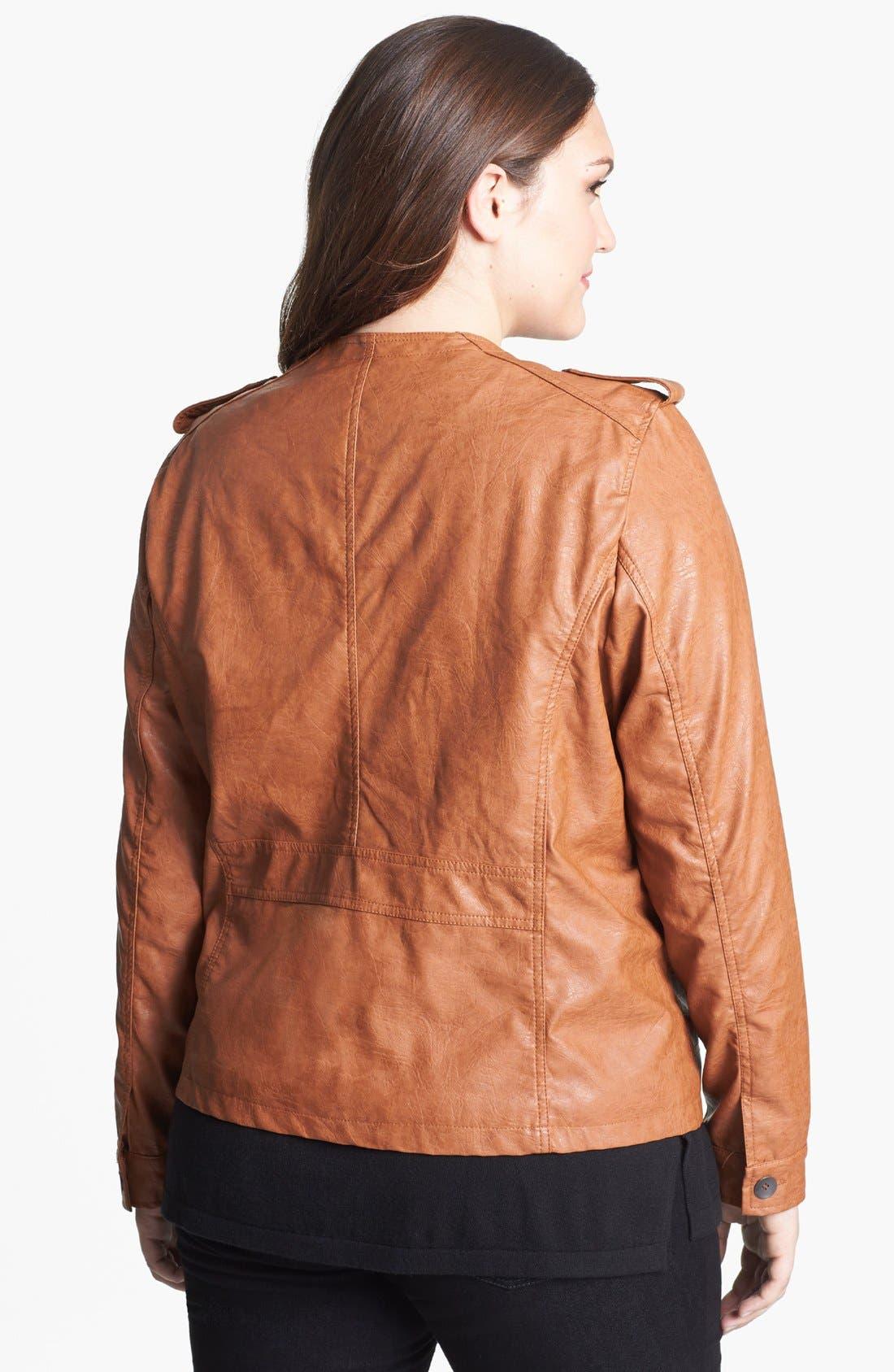 Alternate Image 2  - DKNY Collarless Faux Leather Jacket (Plus Size)