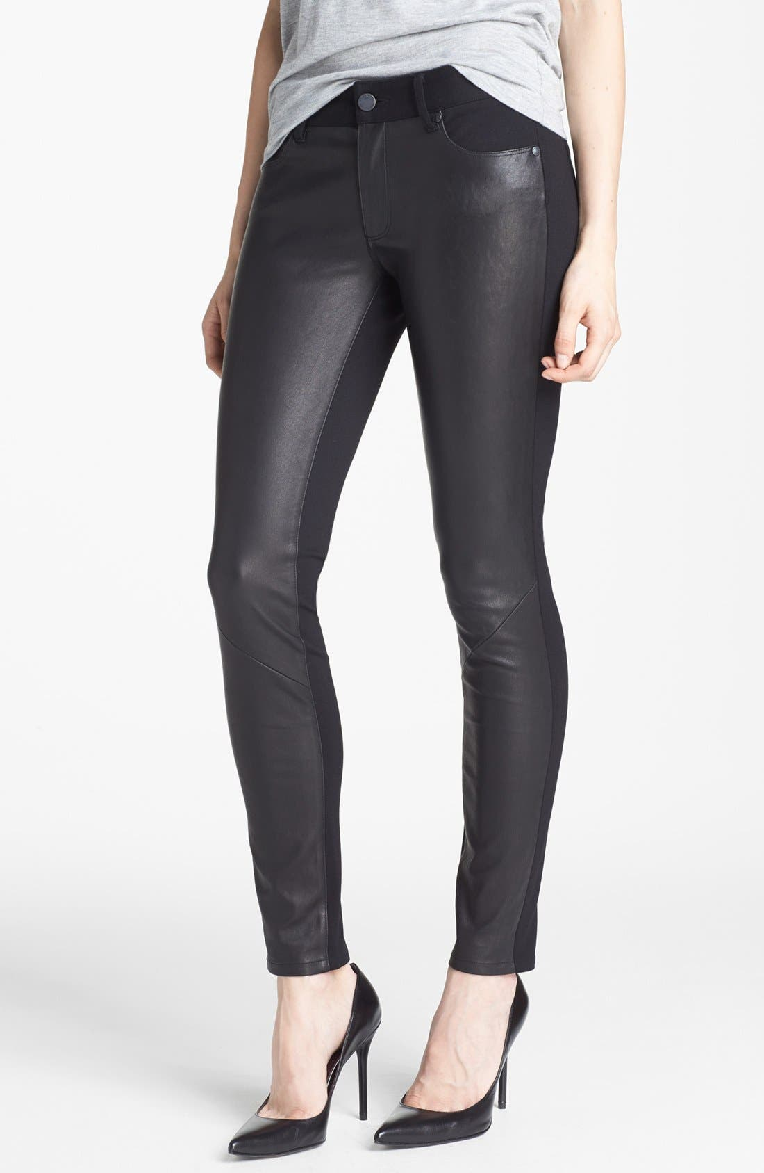 Alternate Image 1  - Paige Denim 'Emily' Leather Panel Pants
