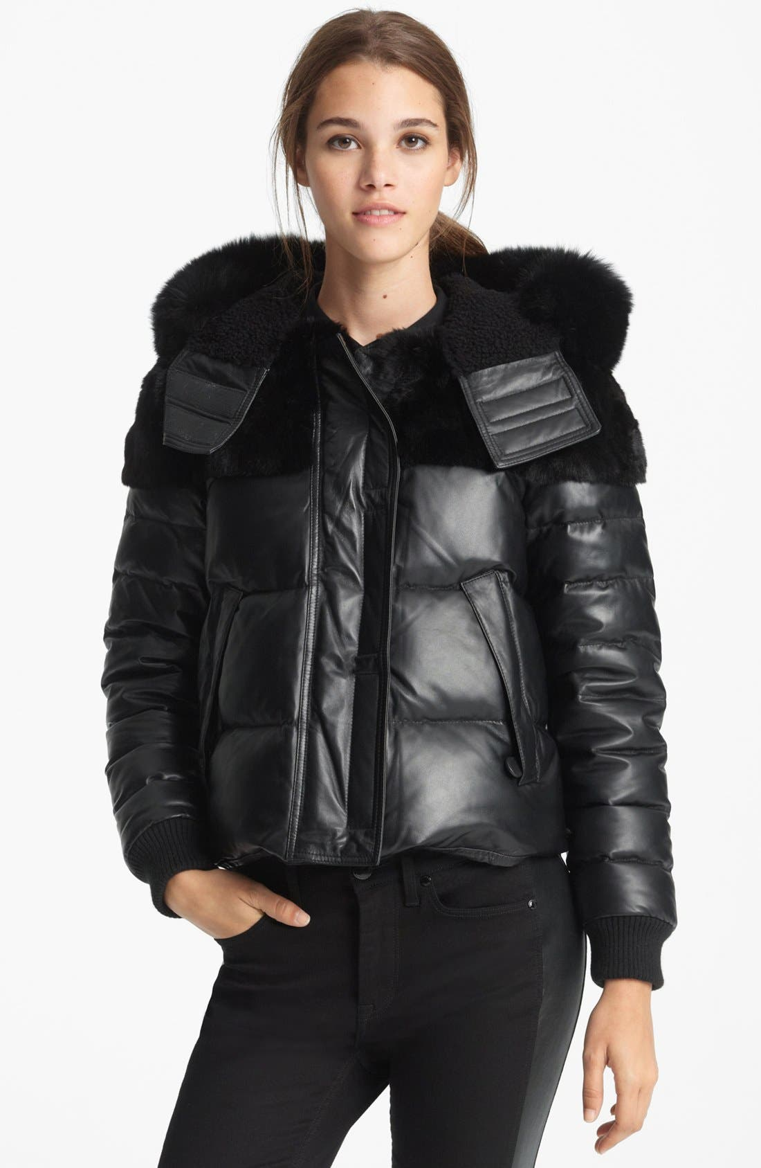 Main Image - Burberry Brit 'Arnsfield' Quilted Leather Jacket with Genuine Mix Fur Trim