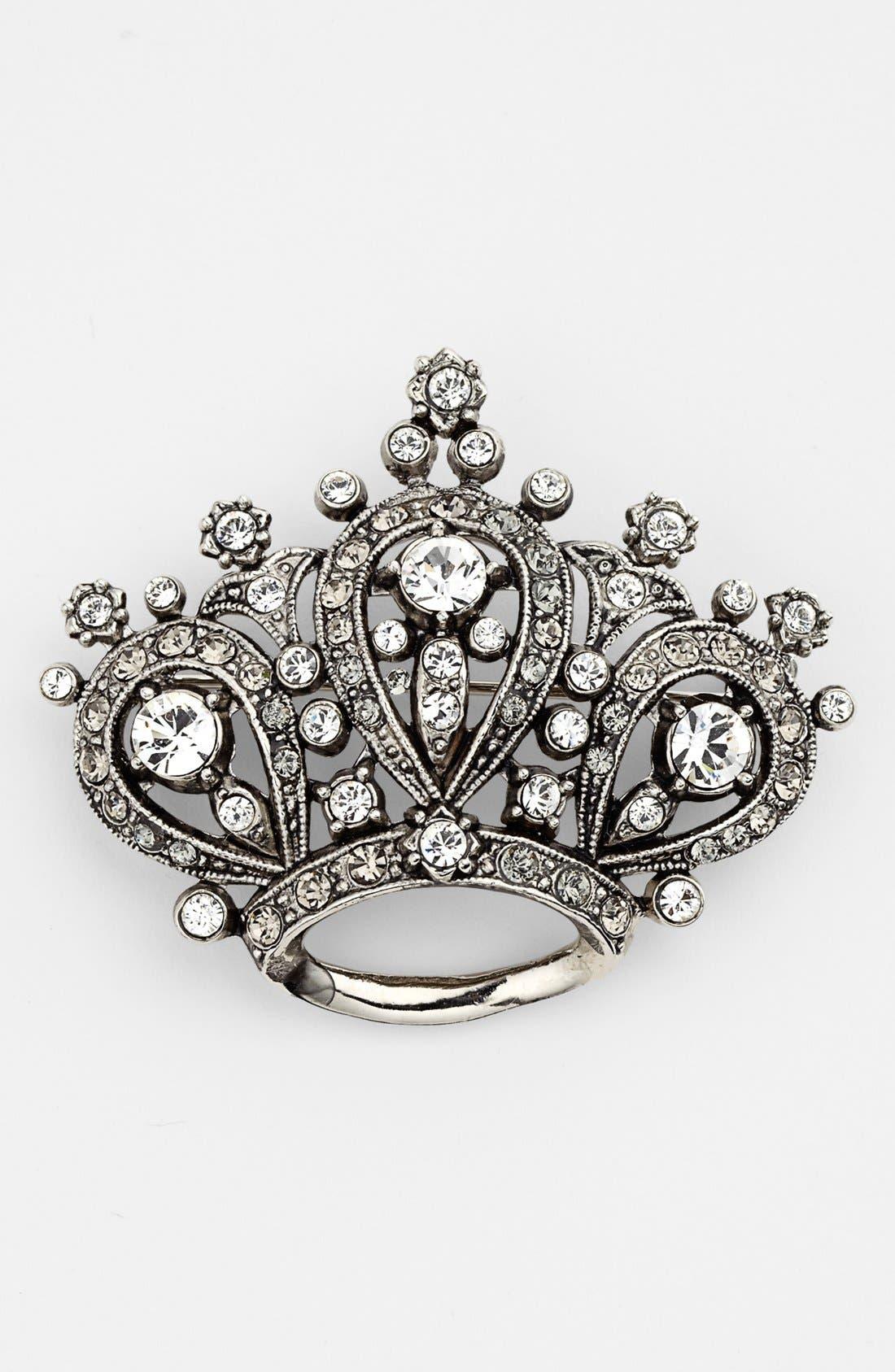 Alternate Image 1 Selected - Nordstrom Crystal Crown Brooch