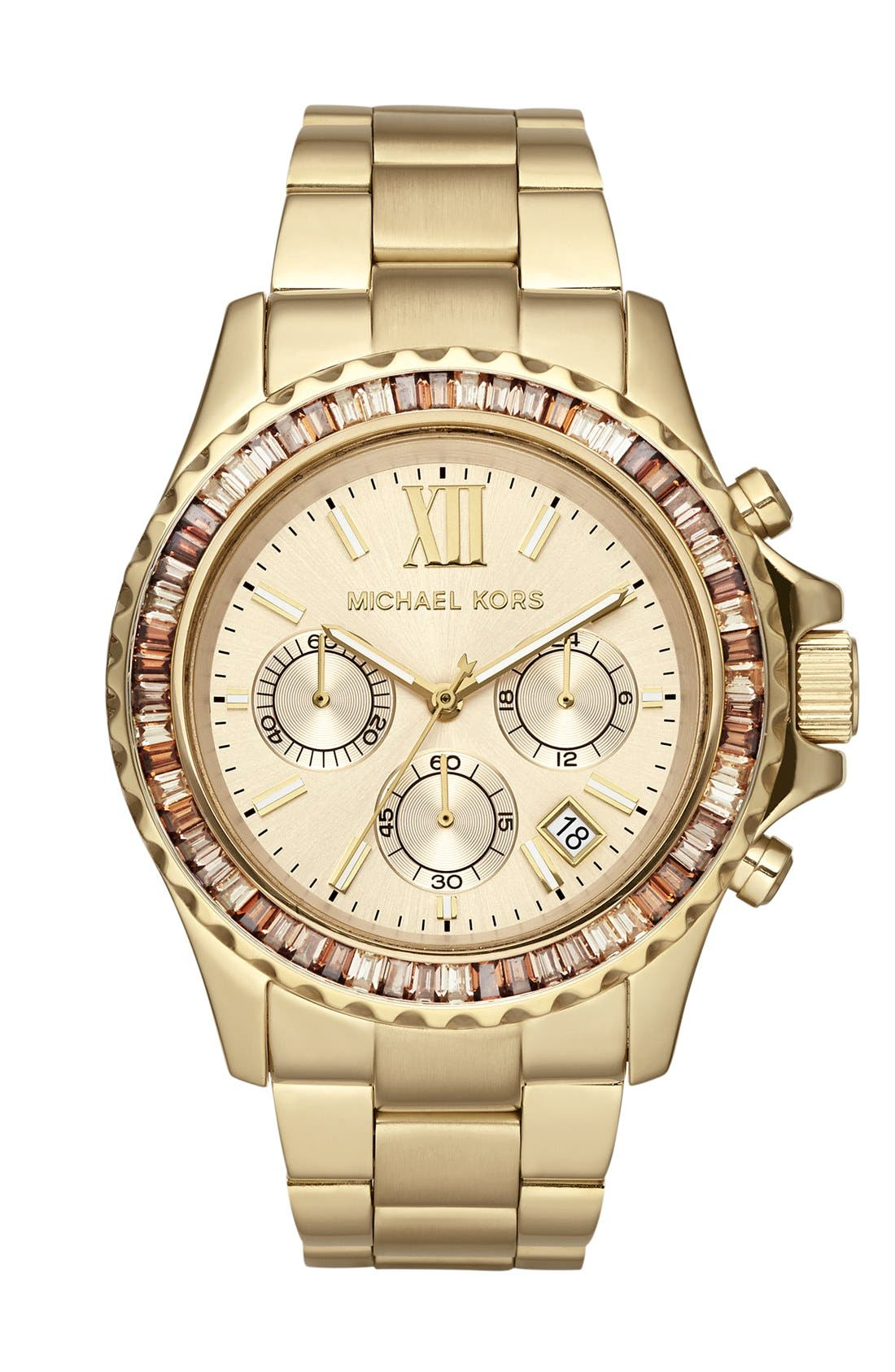 Alternate Image 1 Selected - Michael Kors 'Everest' Baguette Crystal Bezel Bracelet Watch, 41mm