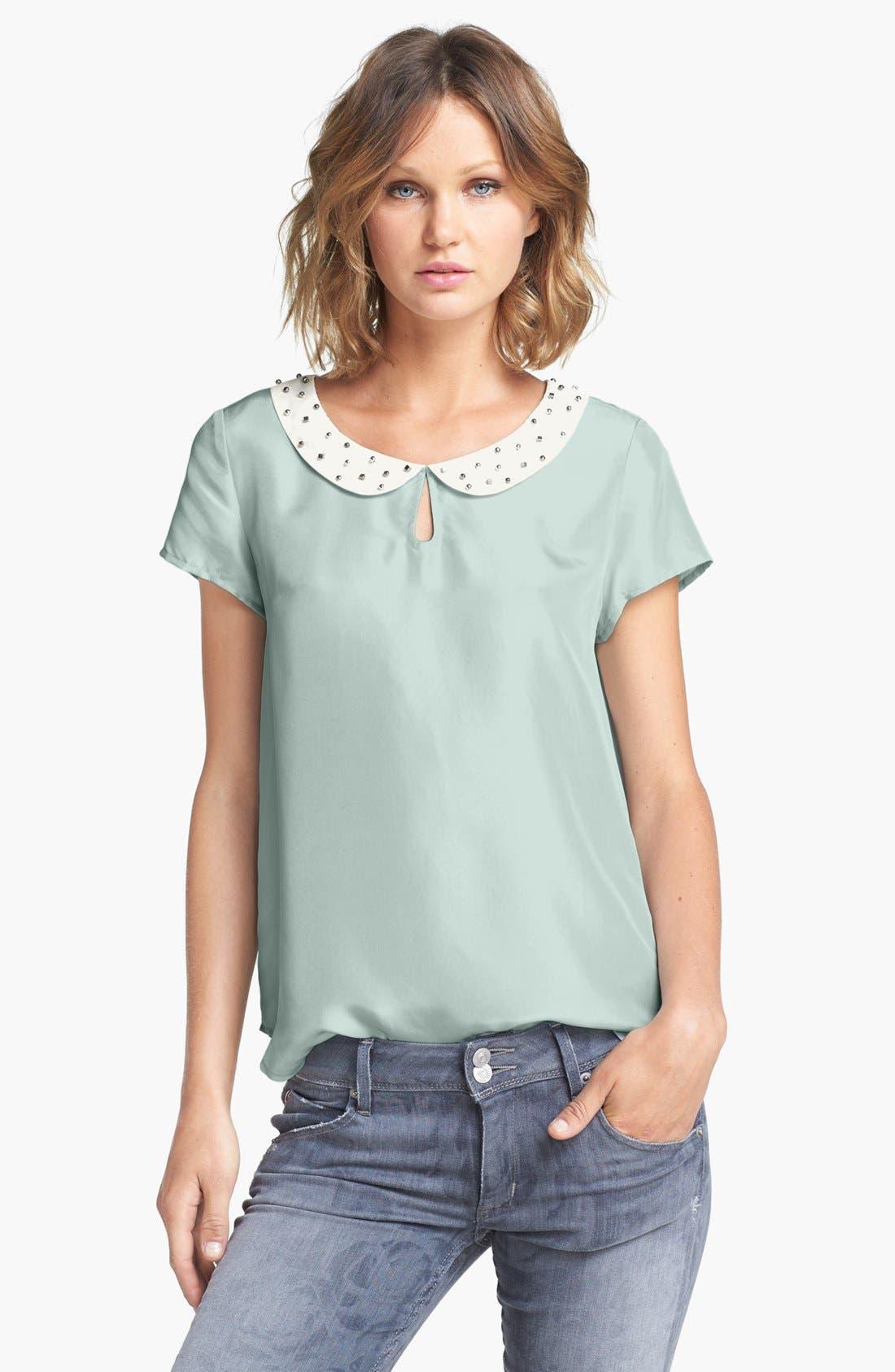 Alternate Image 1 Selected - Hinge® Embellished Collar Silk Top