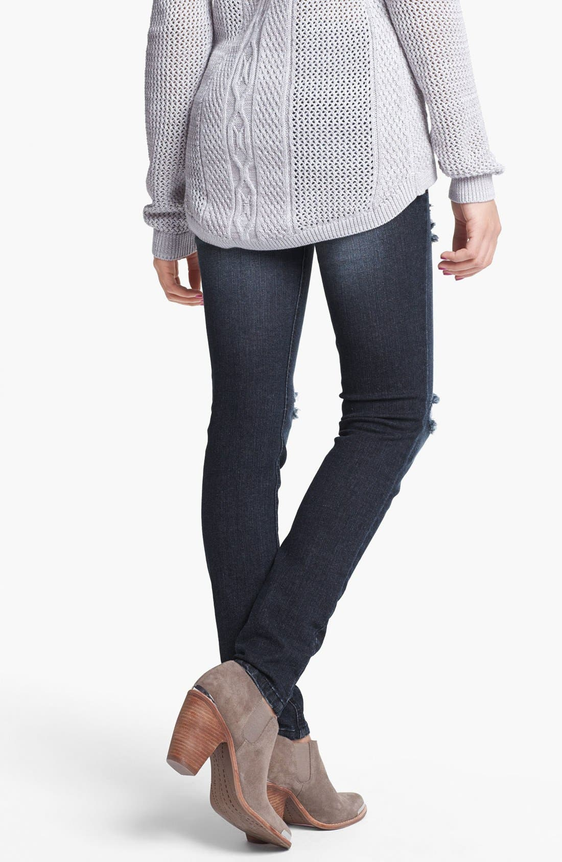 Alternate Image 3  - Fire Destroyed Skinny Jeans (Dark) (Juniors)